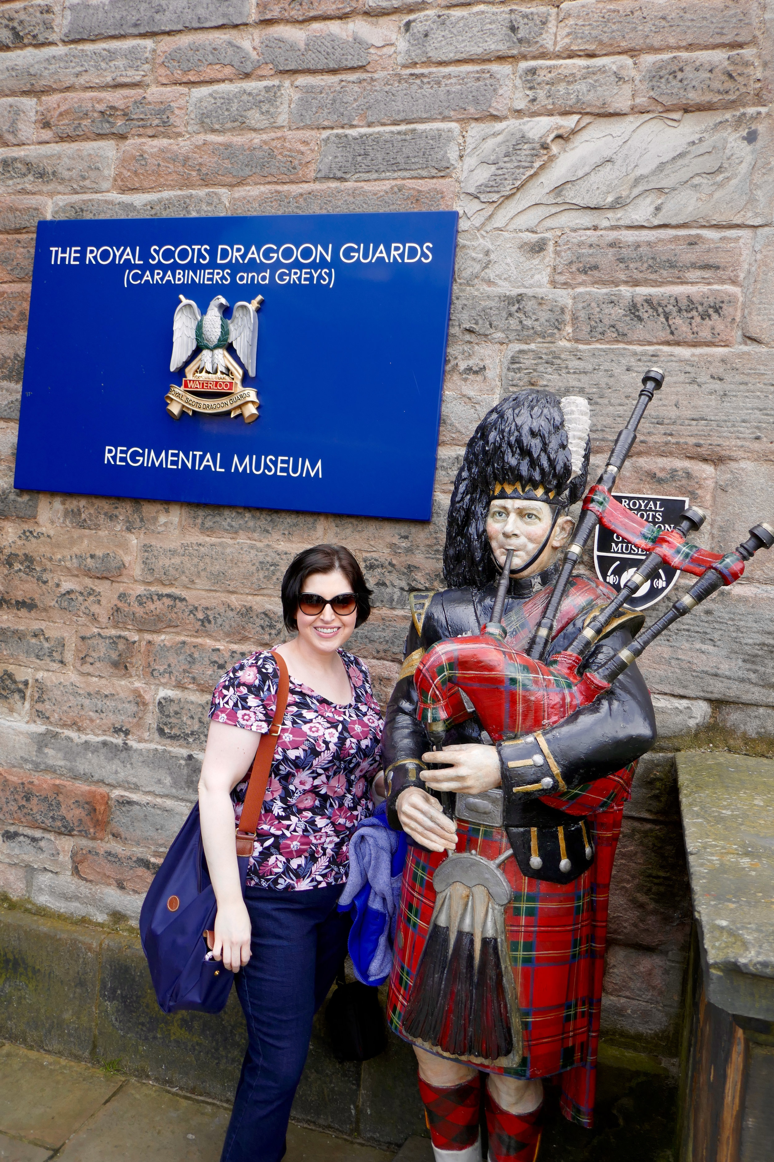 With the statue of the Scottish soldier at Edinburgh Castle