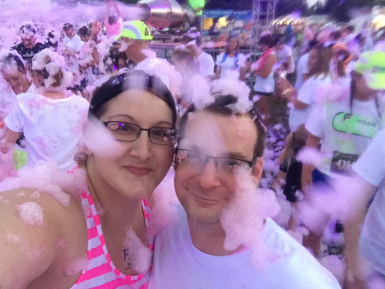 Jen & Steve foam glow race.JPG