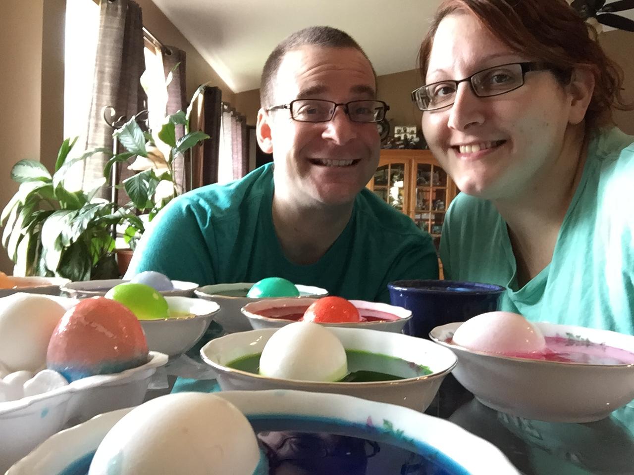 Jen & Steve coloring Easter eggs.JPG