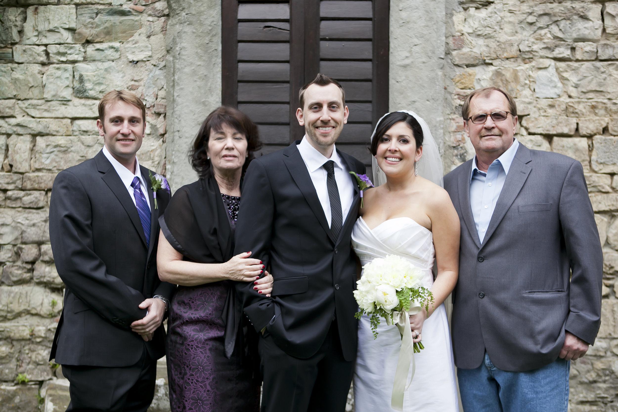 Wedding day with Jordan's family