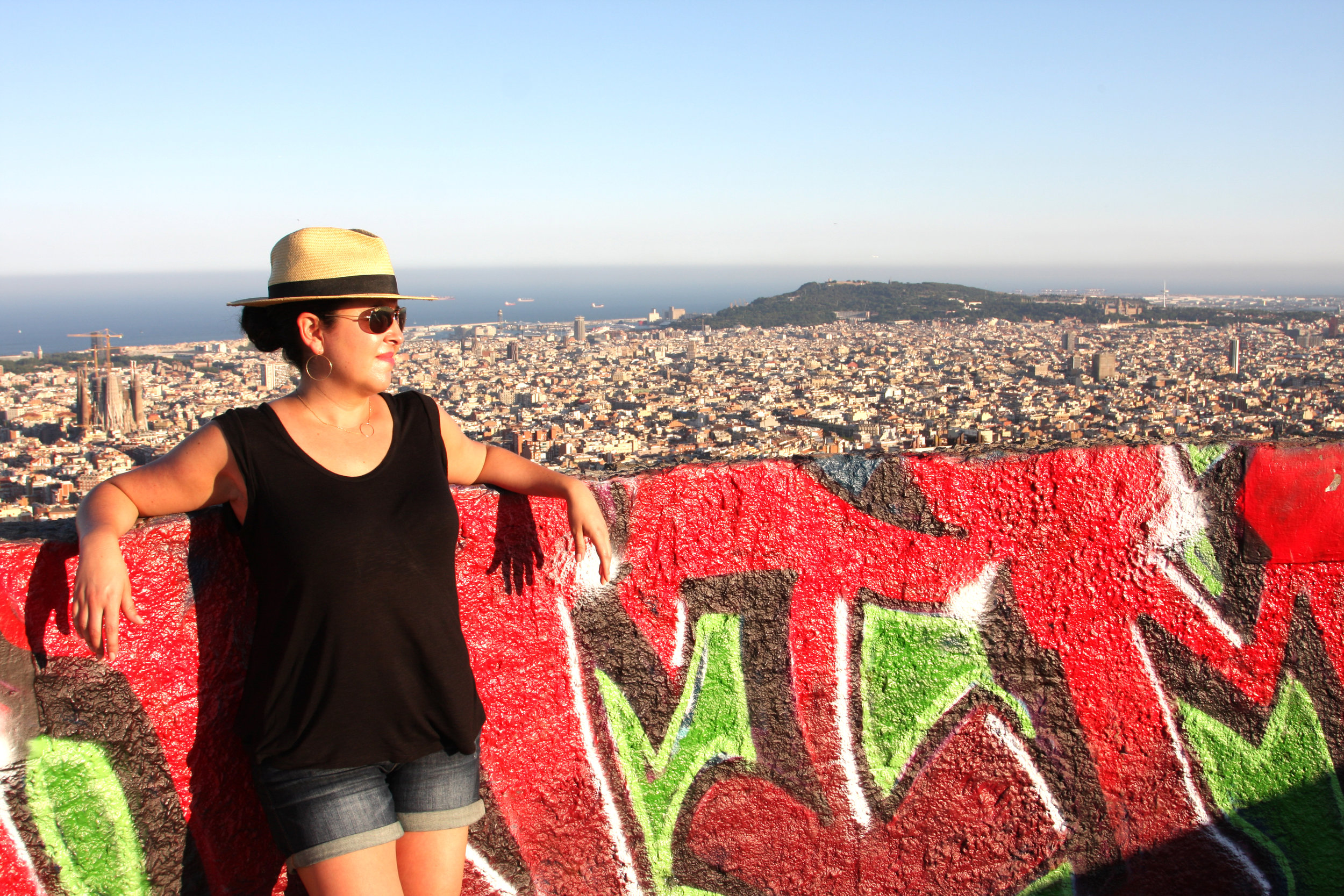Melina soaking up the sun and scenery in Barcelona, Spain