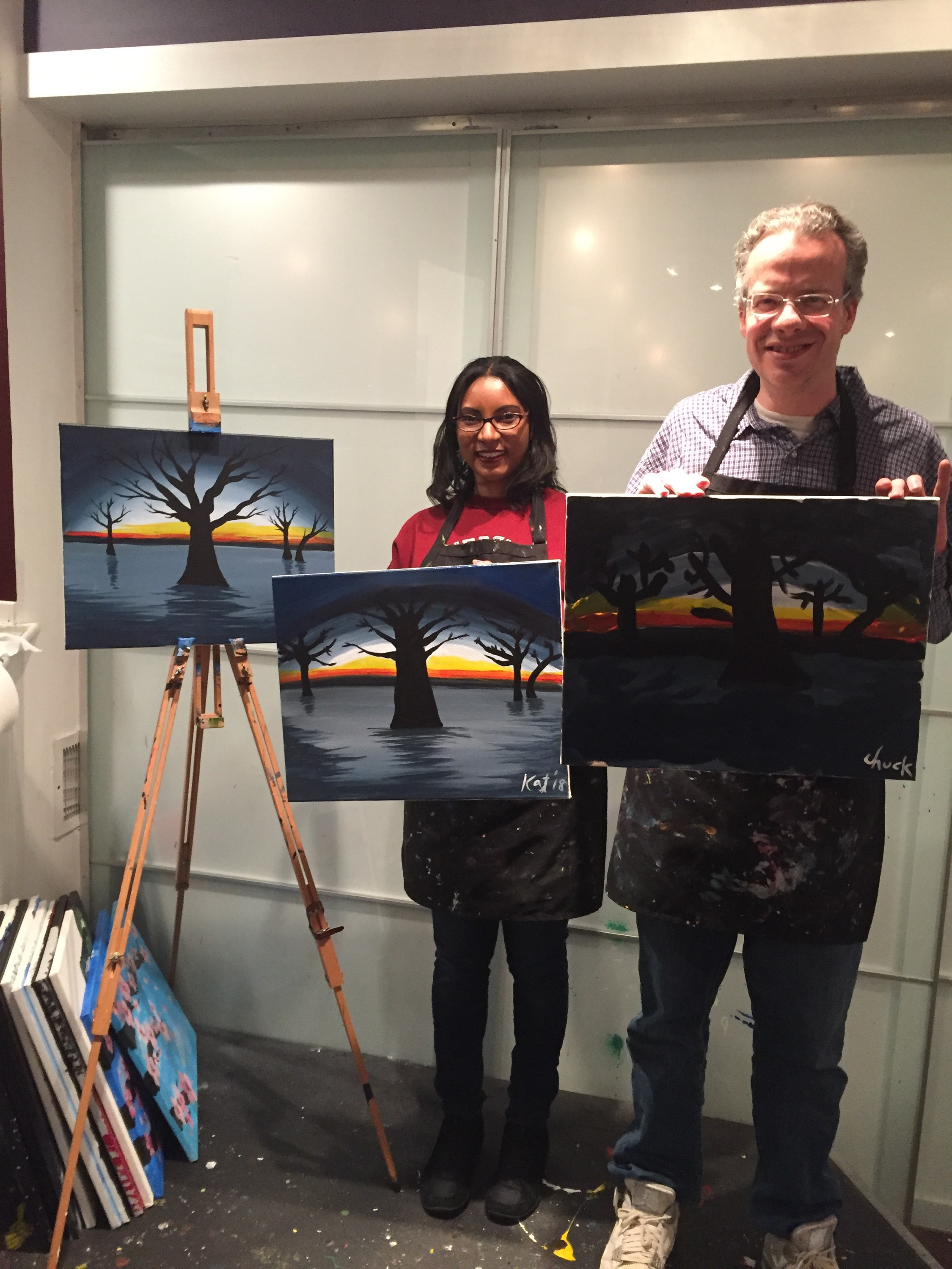 Exploring new experiences together at a local paint and sip class