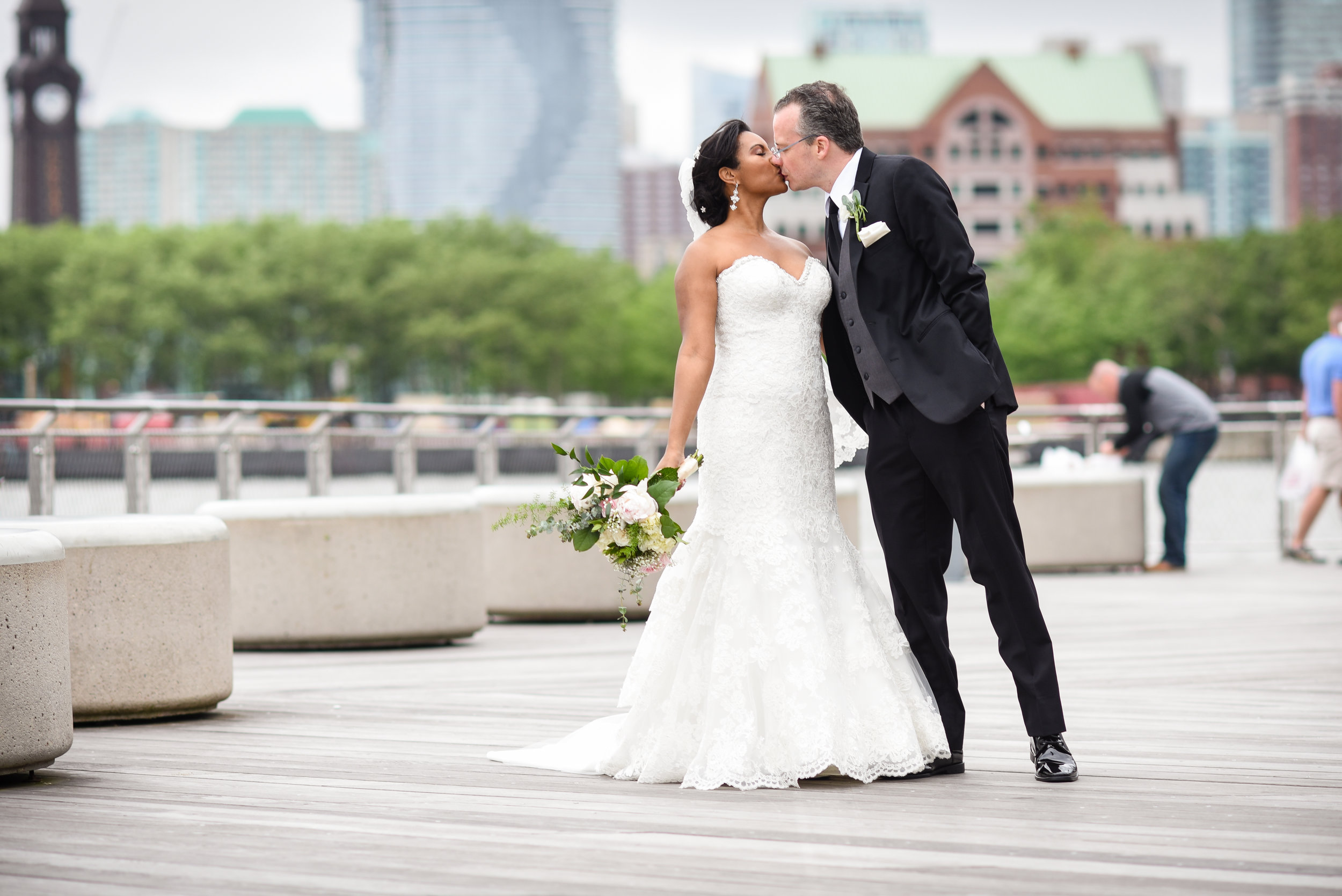 Our wedding day was so special..especially kissing on the Hoboken waterfront!