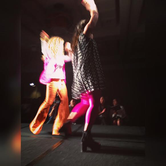 Taking the stage with one of my models wearing my Carnaby Street Collection.