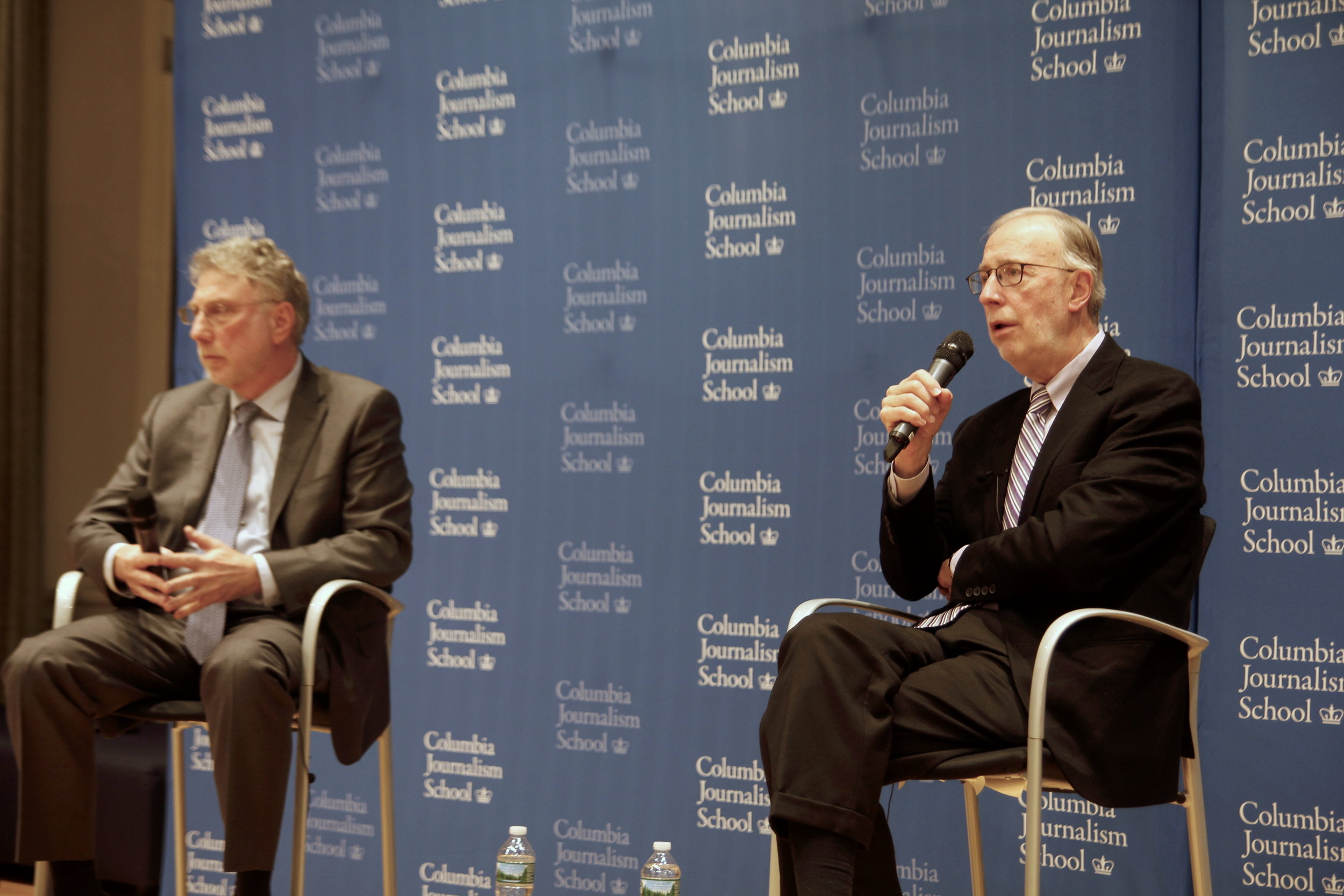 Marty Baron and Dan Balz at the Columbia Journalism School
