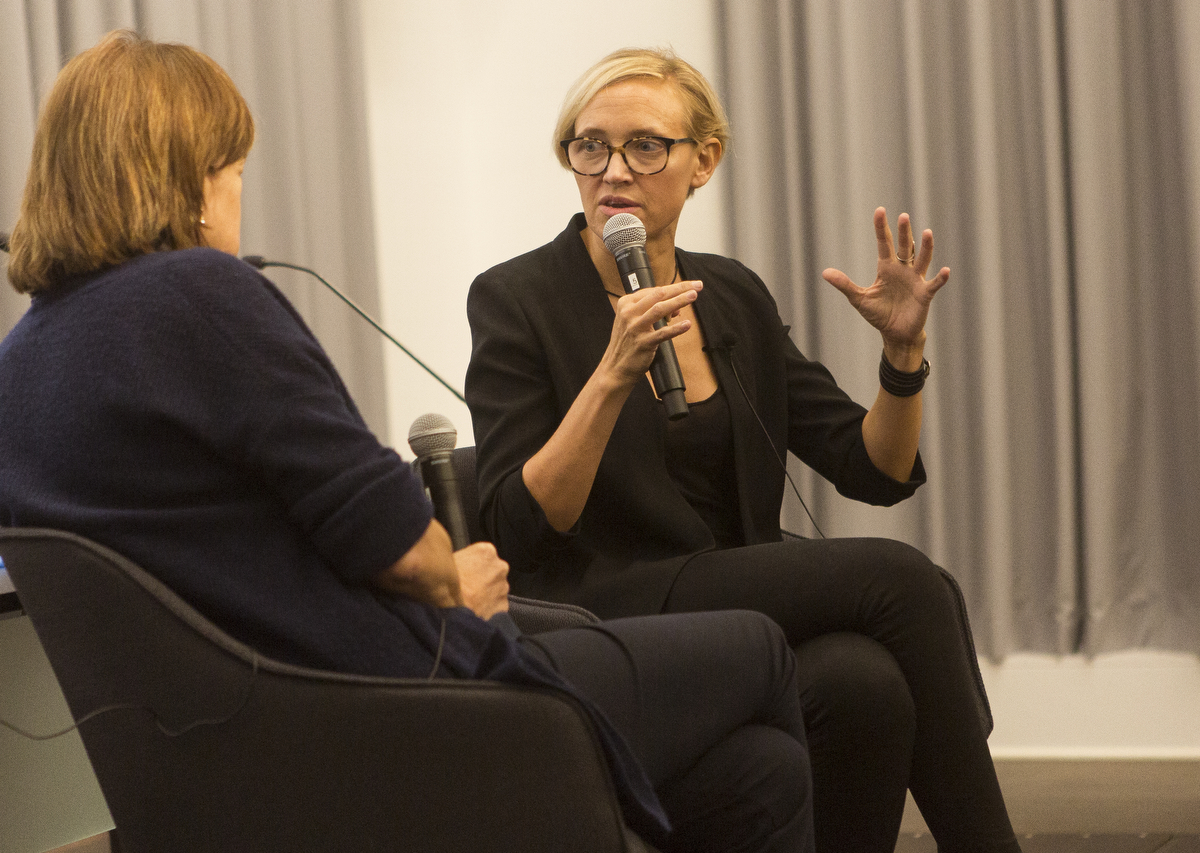 Vanessa Gould speaking with Professor Betsy West at the Columbia Journalism School's Film Fridays Series.