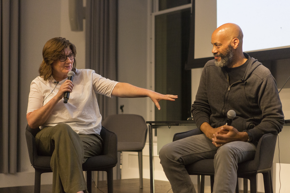 Let It Fall  Producer Jeanmarie Condon and Director John Ridley at the Columbia Journalism School.