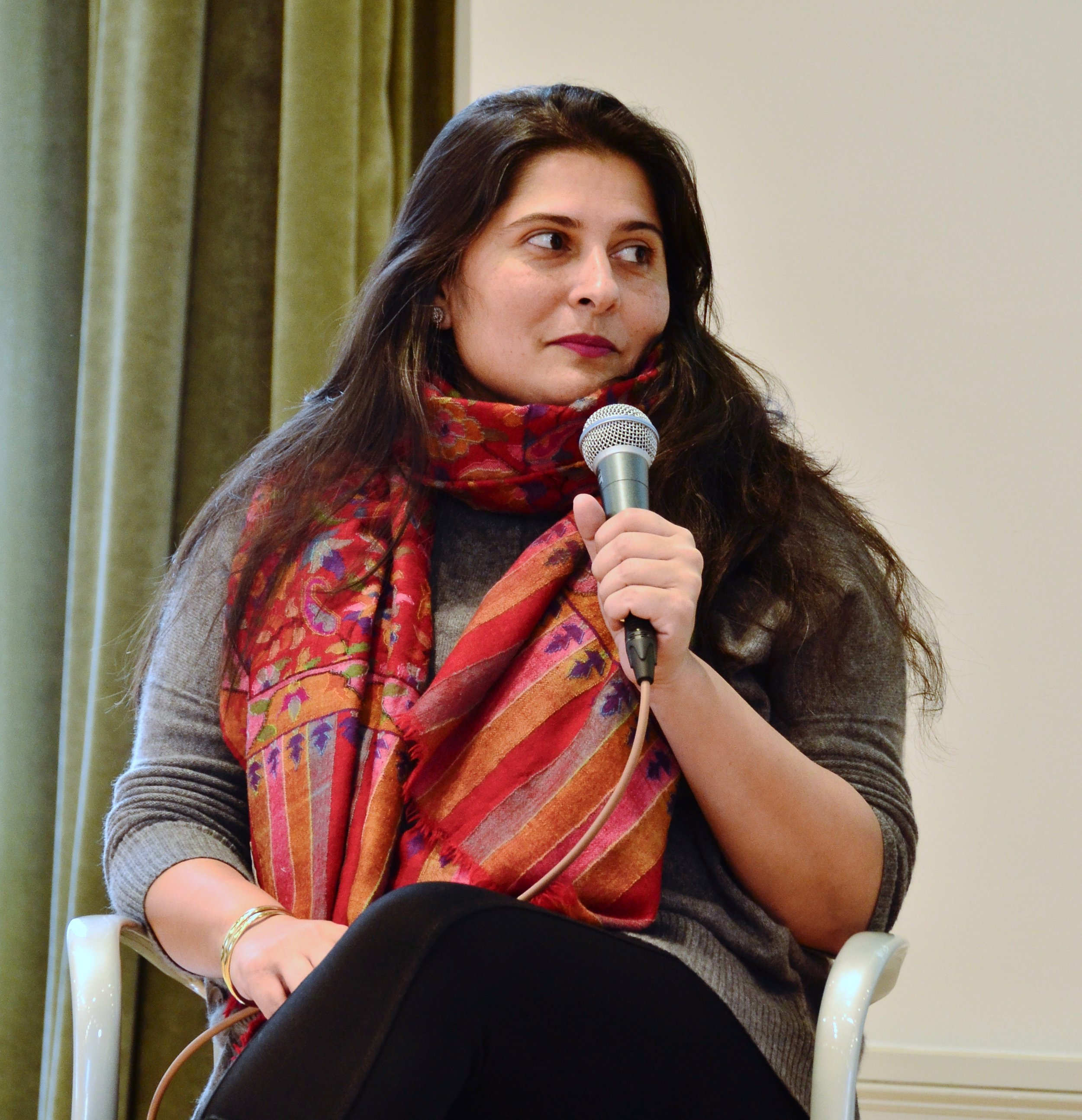 """Sharmeen Obaid-Chinoy at the Columbia Journalism School after winning a duPont-Columbia Award for her film """"Girl in the River."""""""