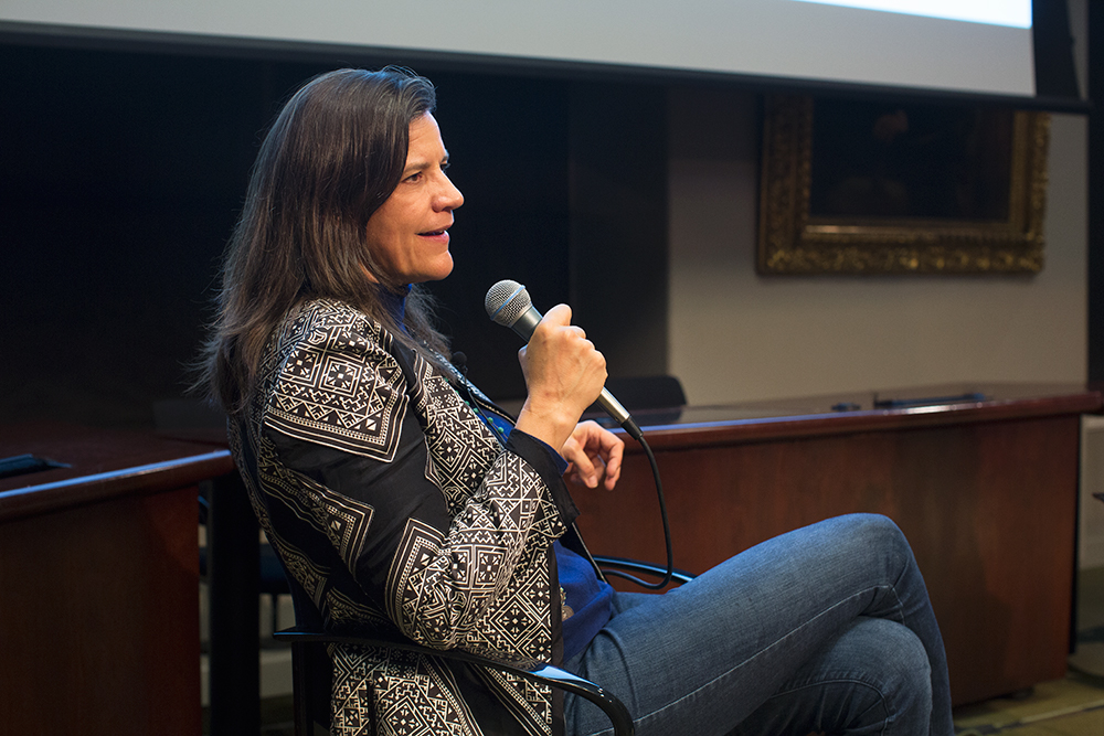 Kirsten Johnson in conversation with Professor Betsy West at the Columbia Journalism School after a screening of her film Cameraperson.