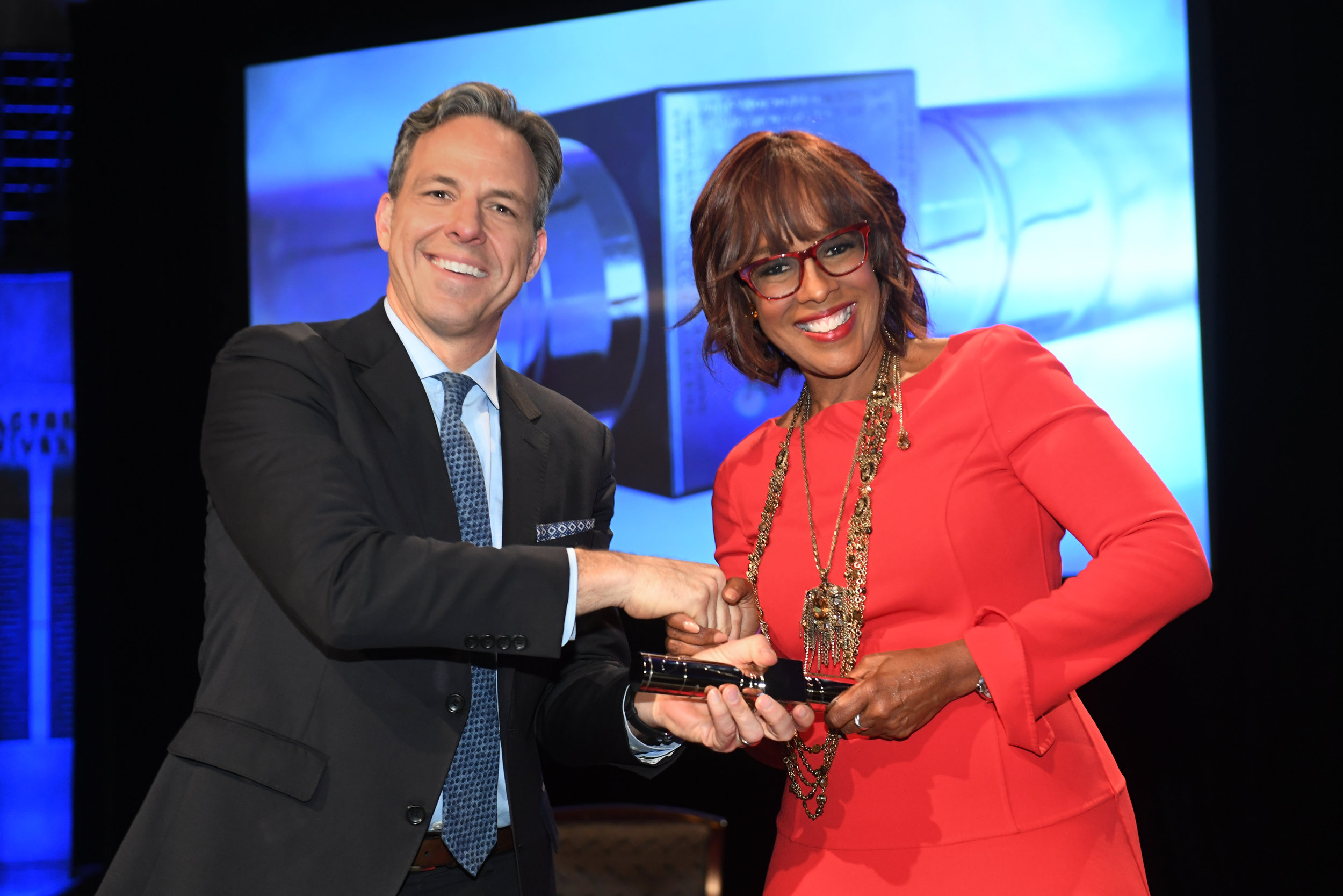 Hosts Jake Tapper and Gayle King at the 2018 duPont-Columbia Awards.
