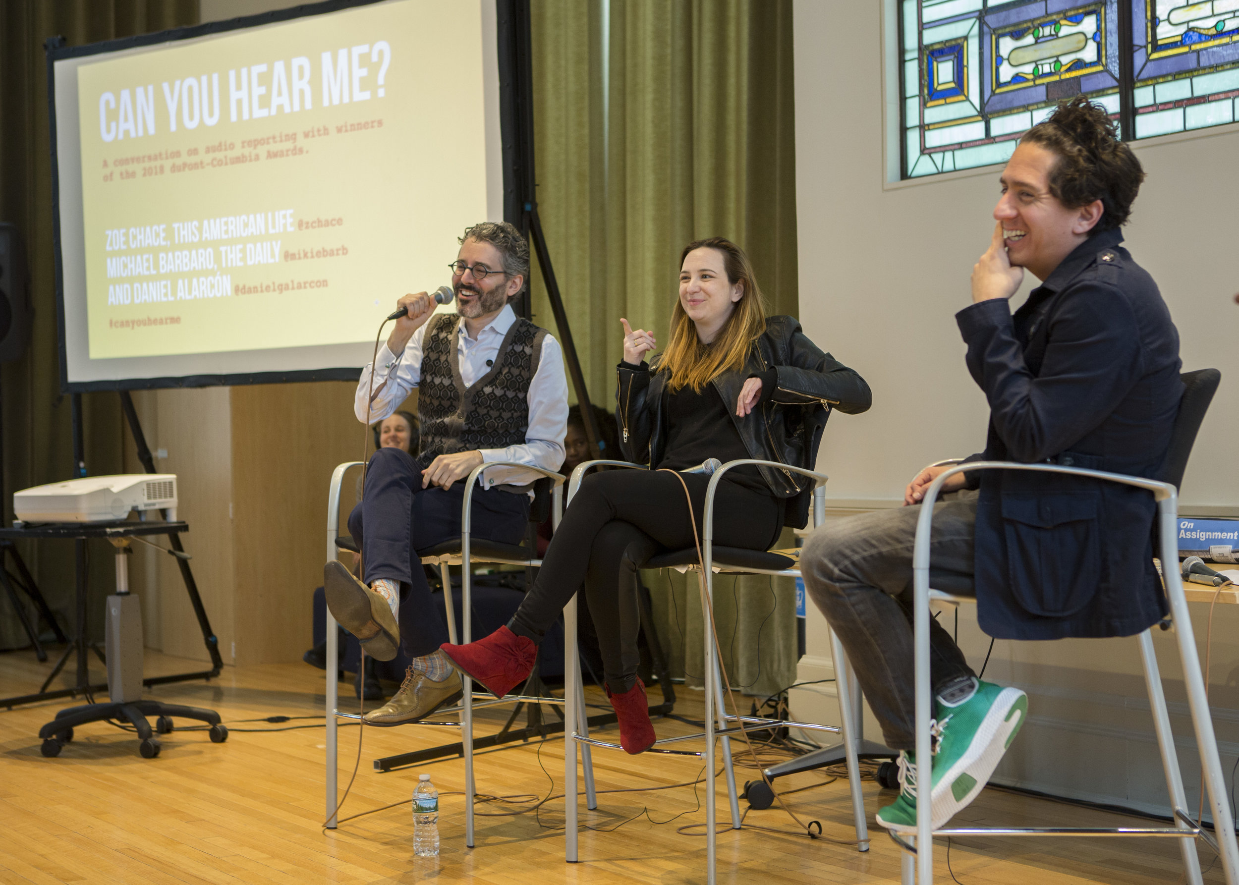 Michael Barbaro, Zoe Chace and Daniel Alarcón talk about audio reporting at Columbia Journalism School.