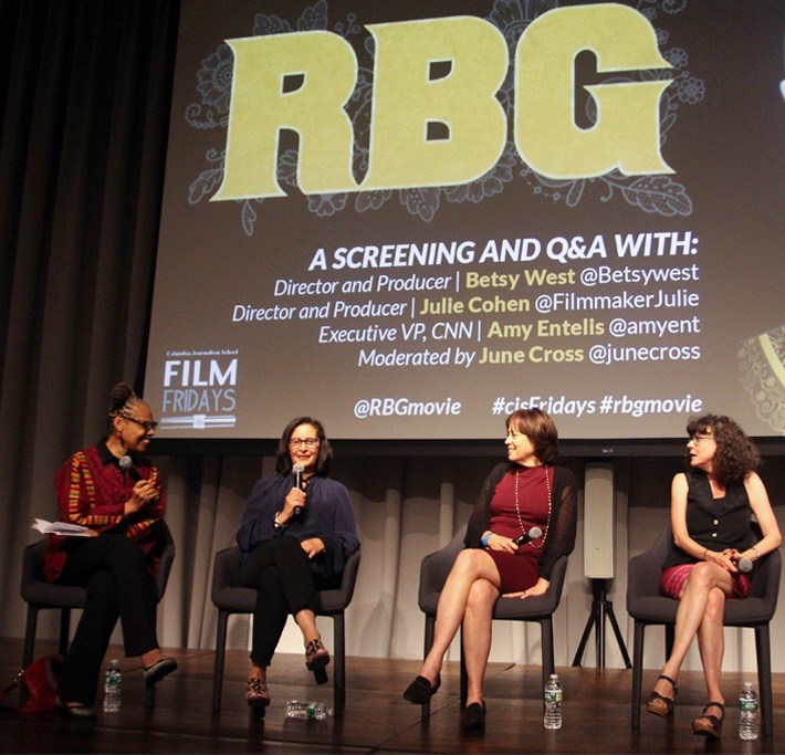 June Cross moderates a conversation with RBG EP Amy Entelis and Directors Betsy West and Julie Cohen