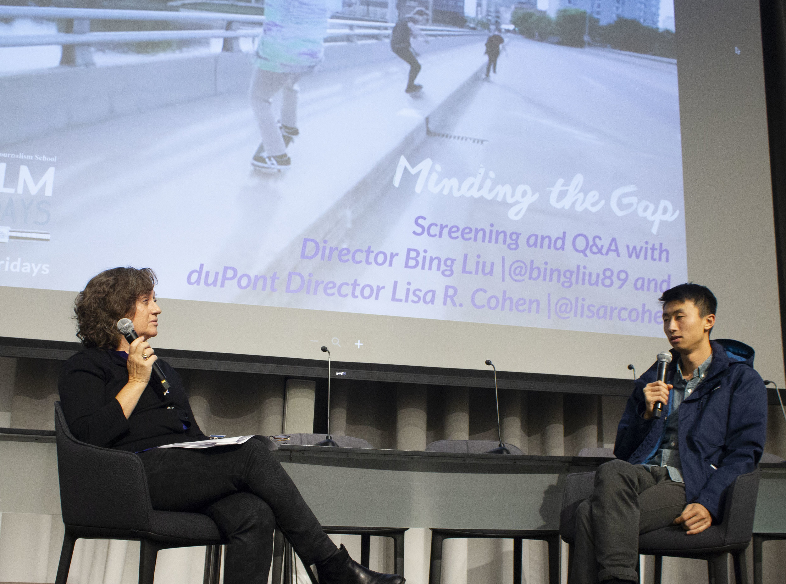 """Director Bing Liu in a Q&A with duPont Awards Director Lisa R. Cohen at the Columbia Journalism School post screening his Oscar-nominated film: """"Minding the Gap."""""""