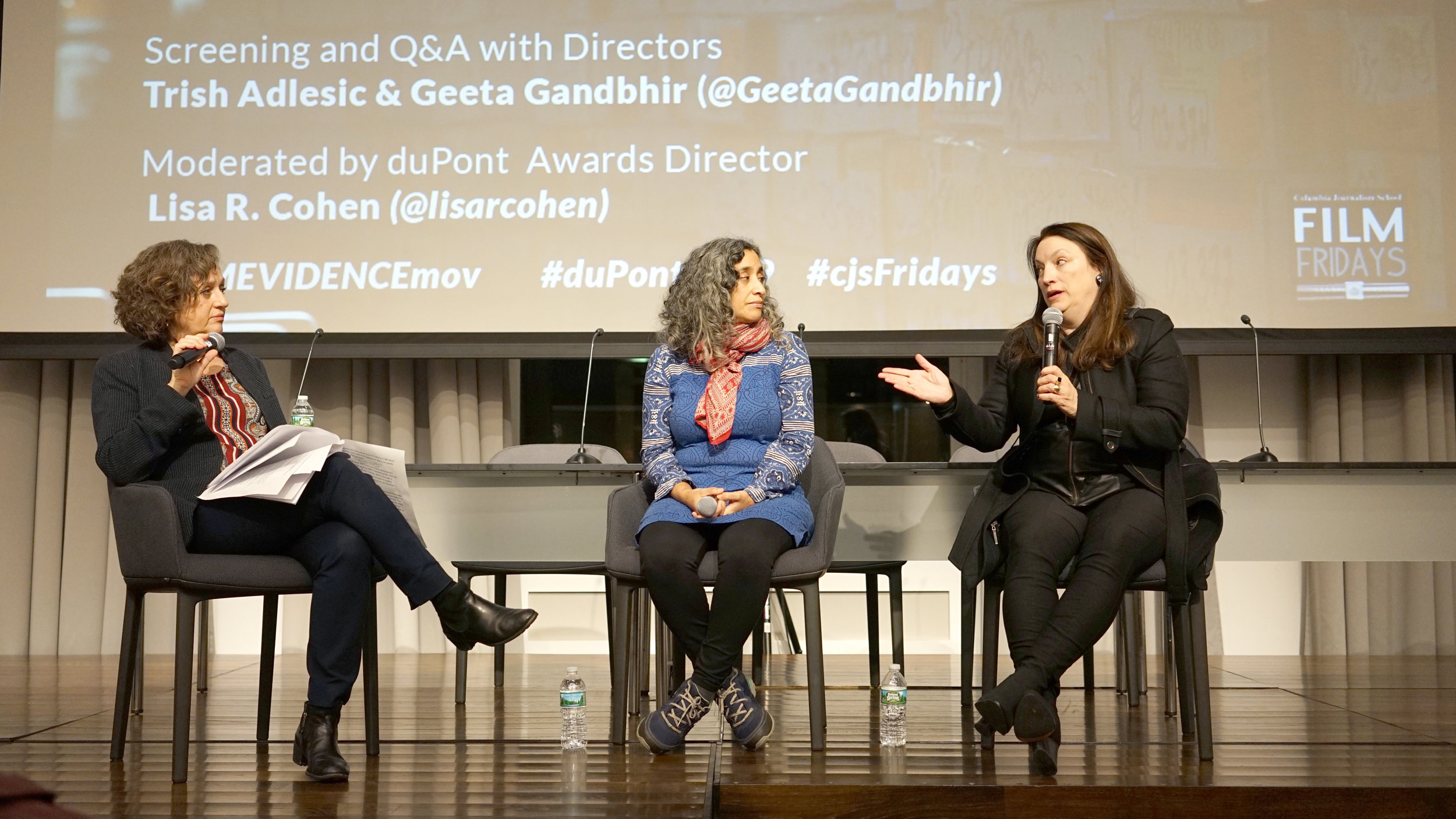 Directors Geeta Gandbhir (r) and Trish Adlesic (l) talk about I Am Evidence with duPont Director Lisa R. Cohen