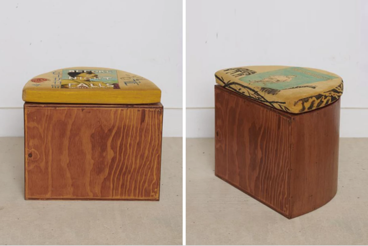 """Coffee- Stained Douglas Fir Half-Moon Stool w/ Bode Corduroy II, 2019."" Douglas Fir, Lauan, Coffee and Bode Hand-Drawn Corduroy. 15.5H × 19W × 13.75D inches. Green River Project LLC. www.greenriverprojectllc.com. Sept 8, 2019."