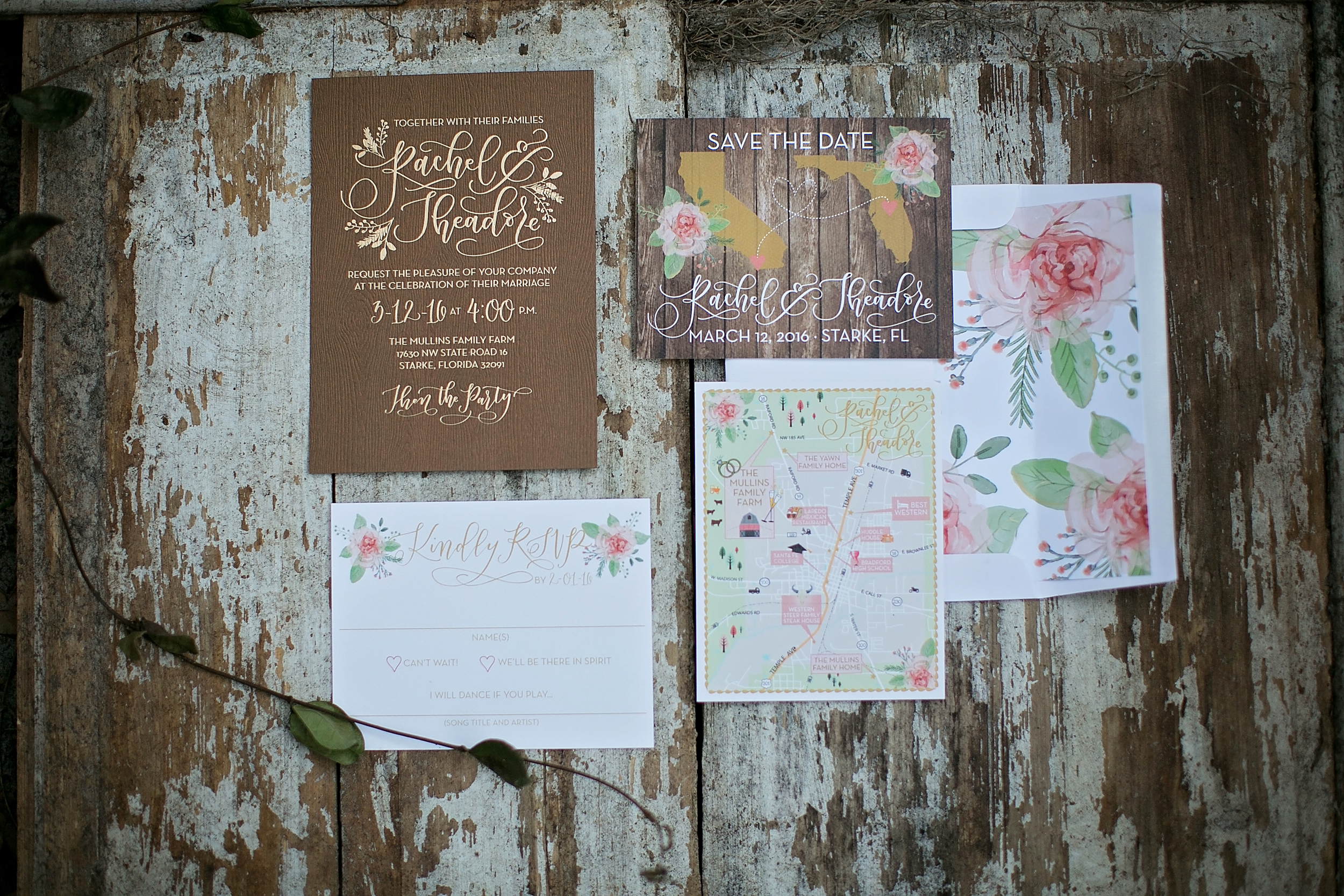 Barn wedding invitation suite