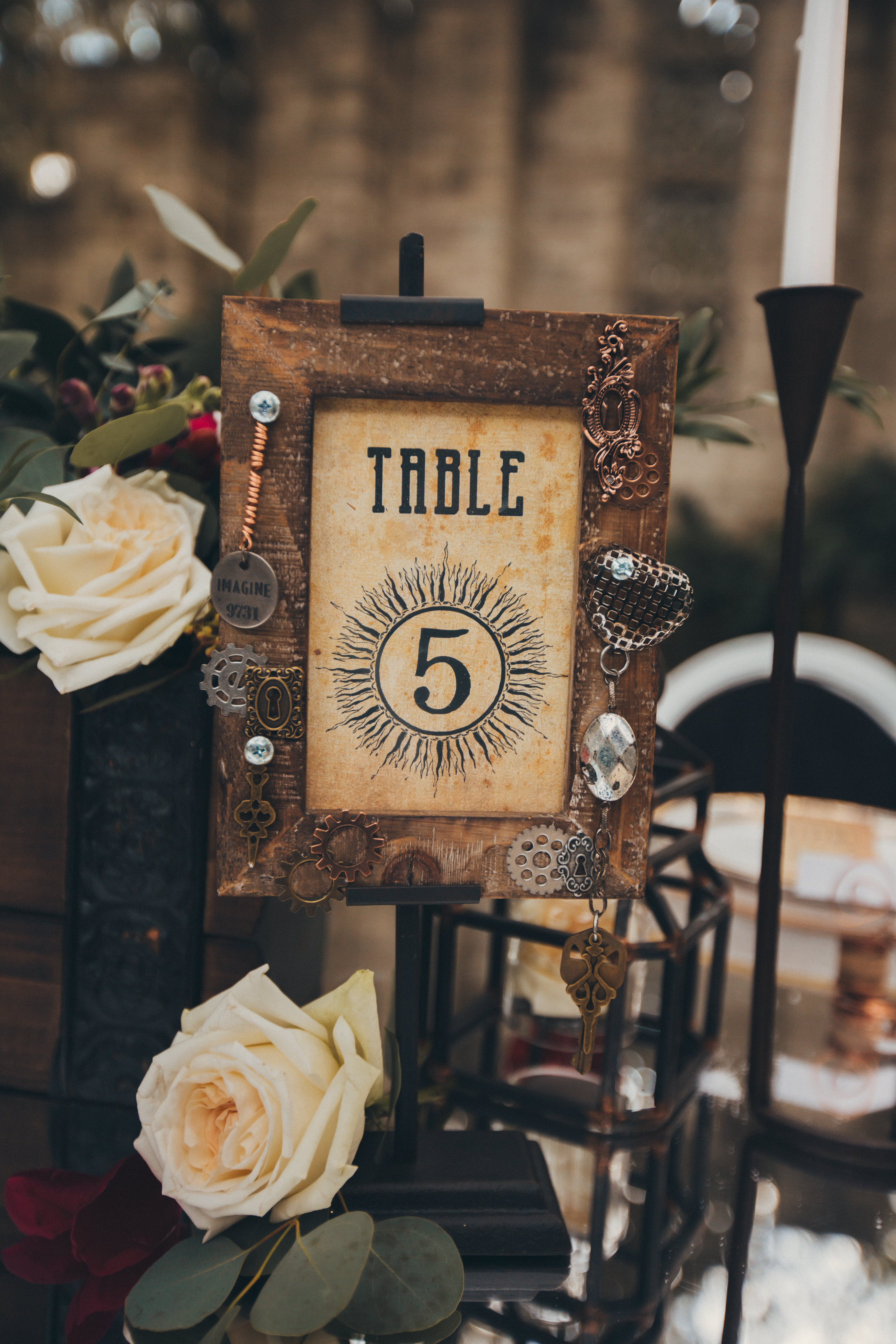 Steampunk wedding decor