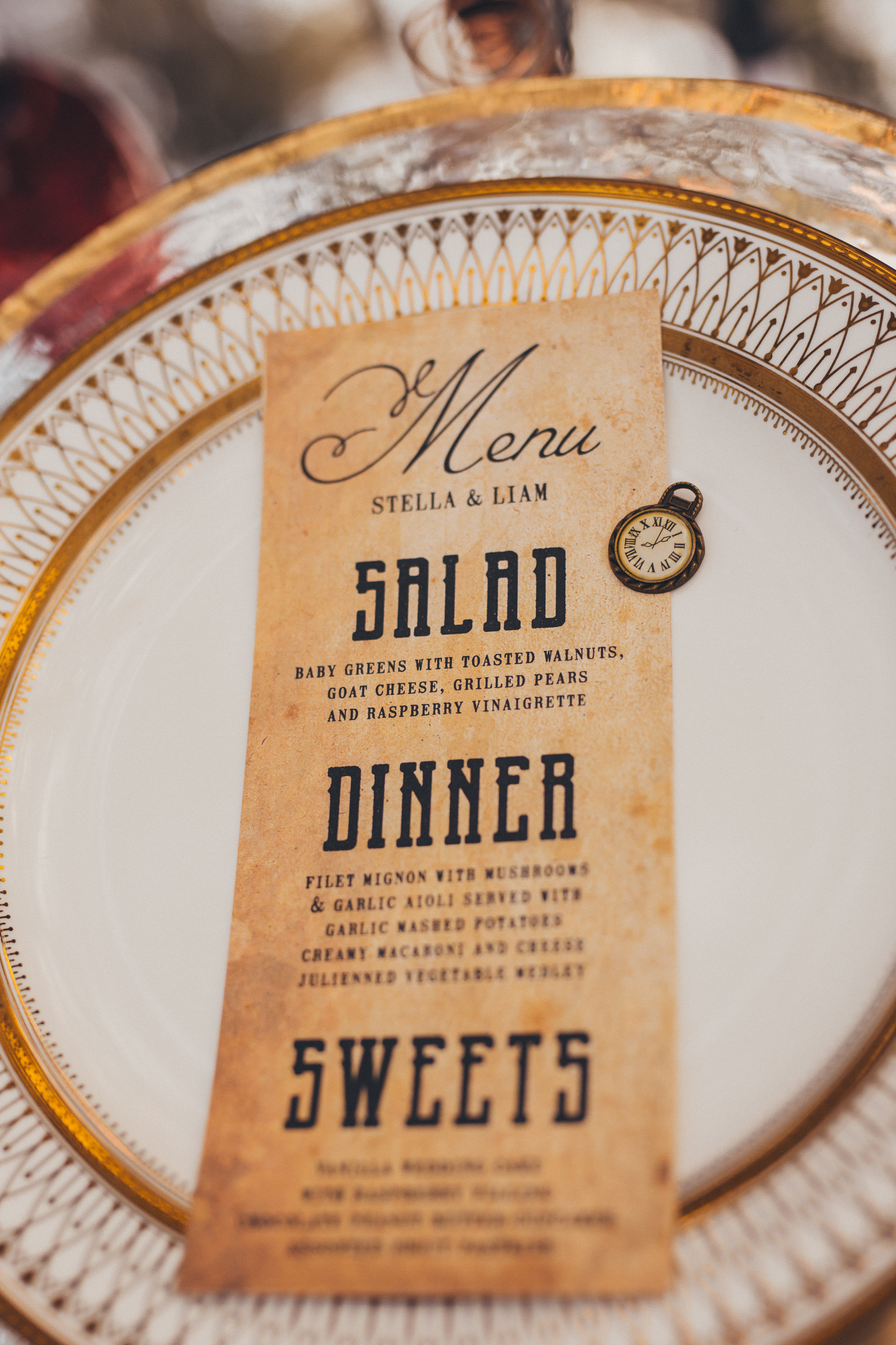 steampunk inspired wedding menu