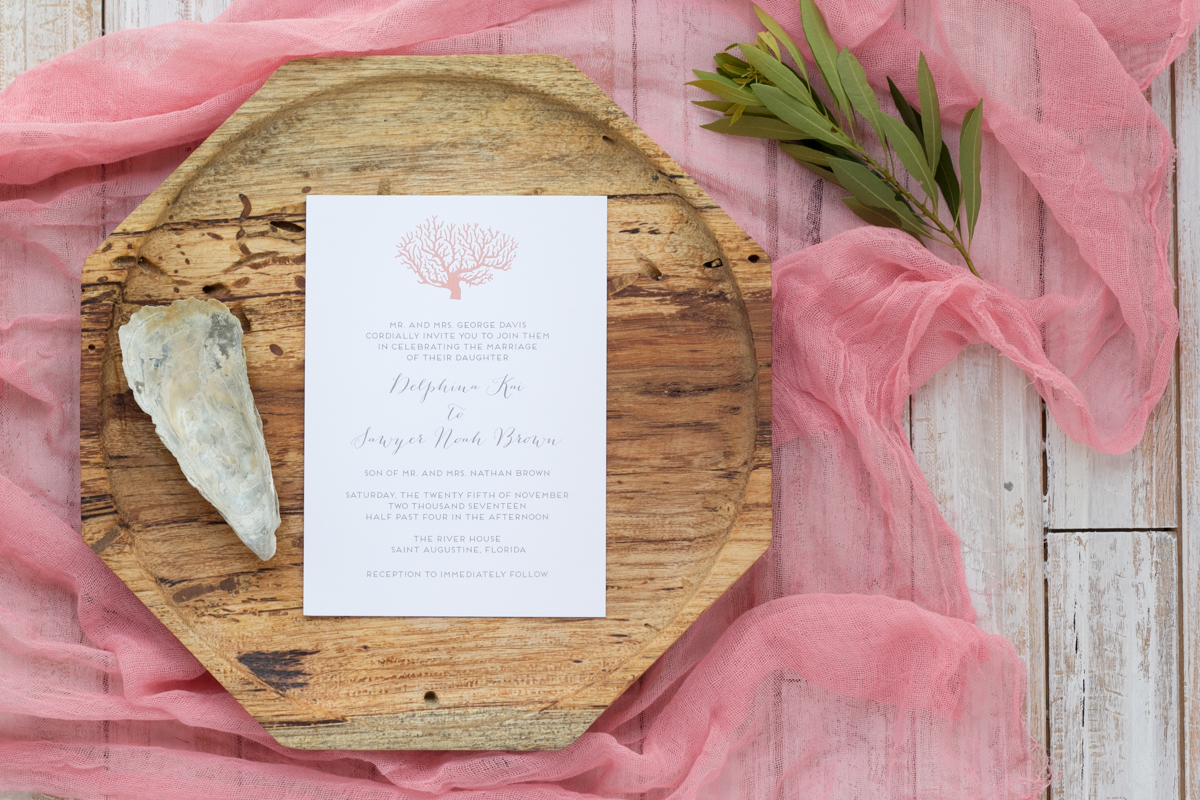 Nautical Themed Wedding Invitations - Coral Beach Wedding - Feathered Heart Prints