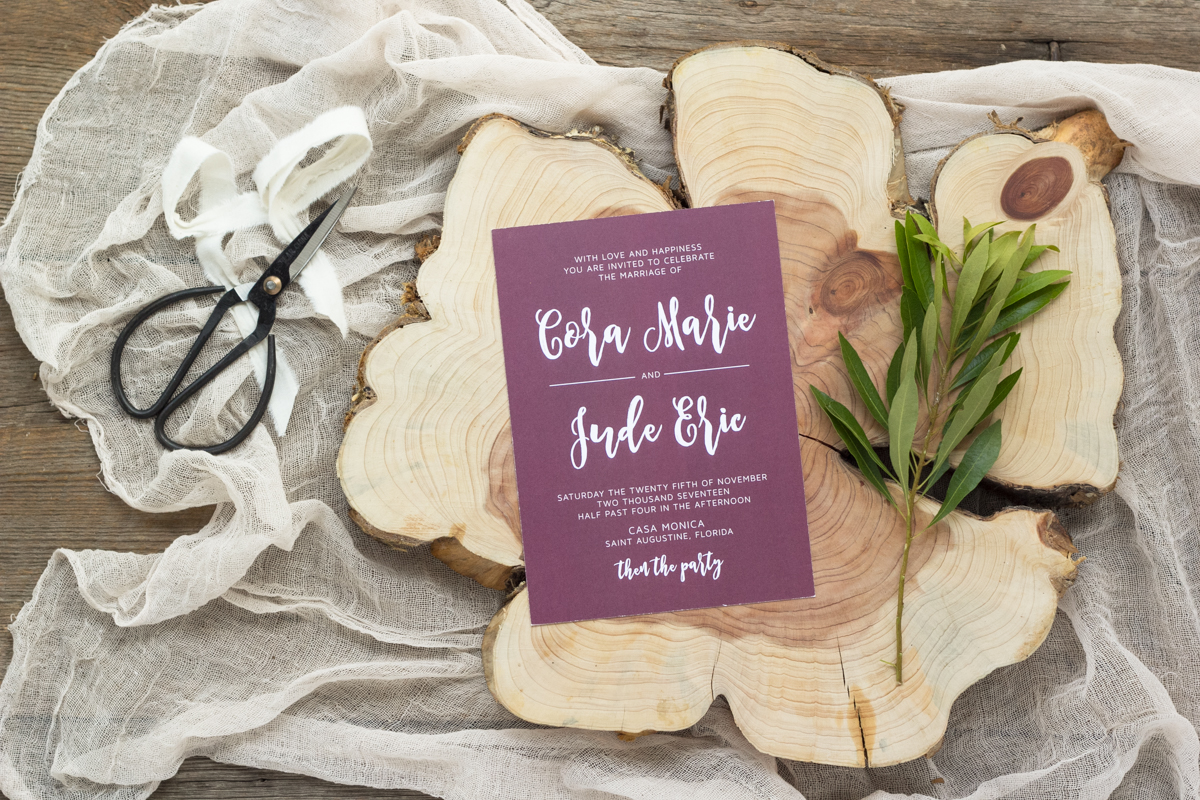 Bold Fun Wedding Invitations - Invites that aren't boring - Purple Wedding - Feathered Heart Prints
