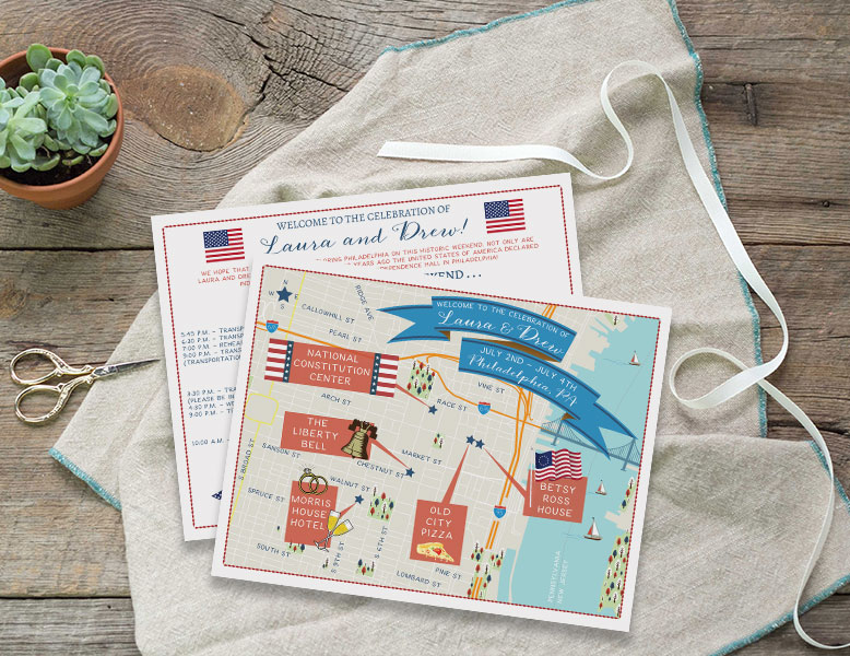 Philly wedding map custom design by Feathered Heart Prints