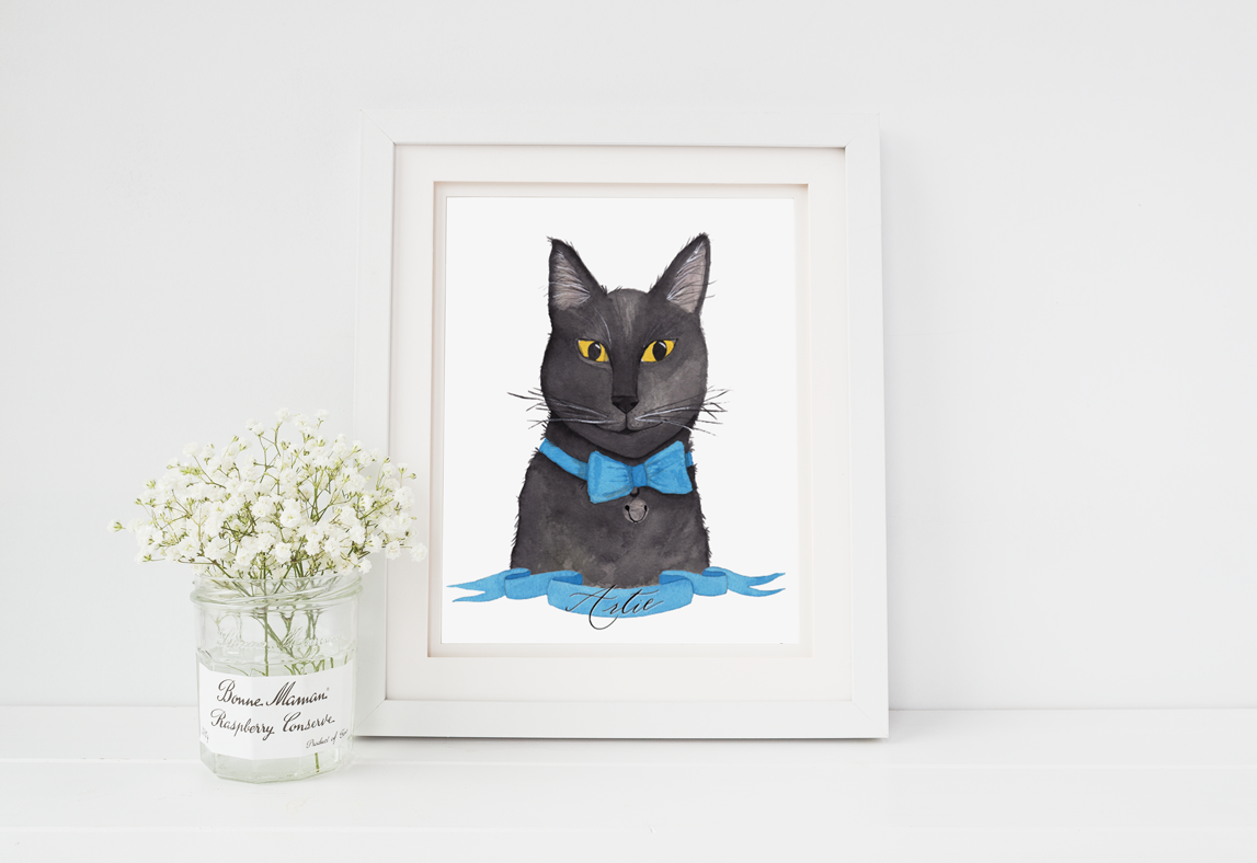 Custom watercolor cat portrait - black cat