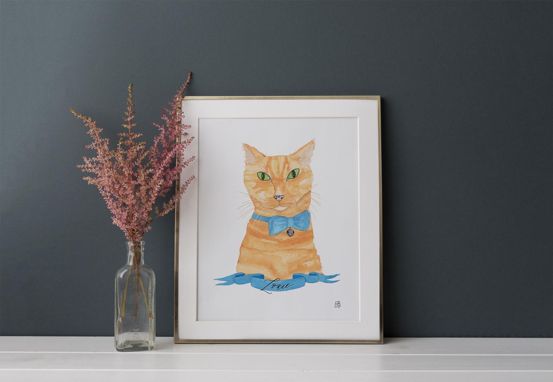 Yellow cat painted portrait