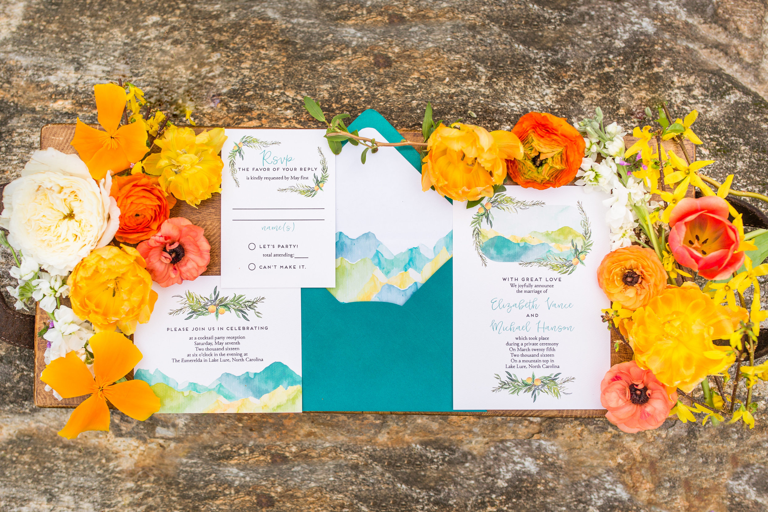 Teal Custom Wedding Invitations for Rustic Mountain Wedding or Elopement