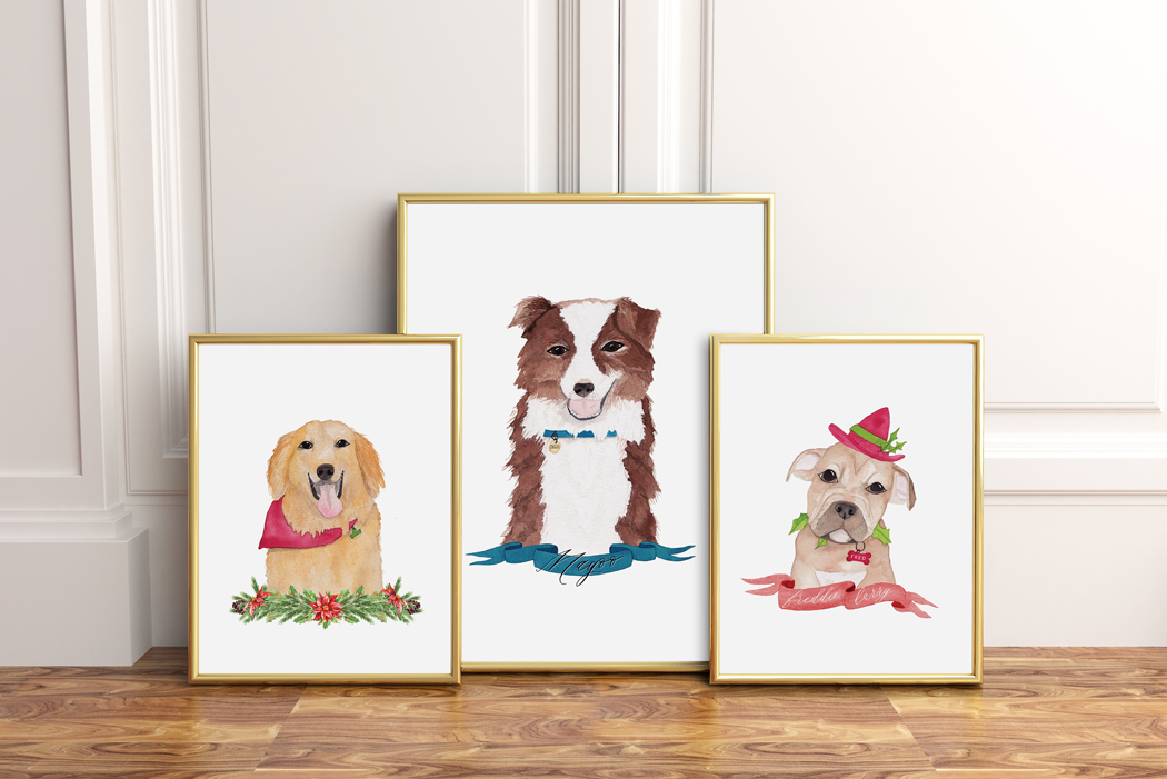 Watercolor Pet Portraits of Golden Retriever, Border Collie, and Bull Dog