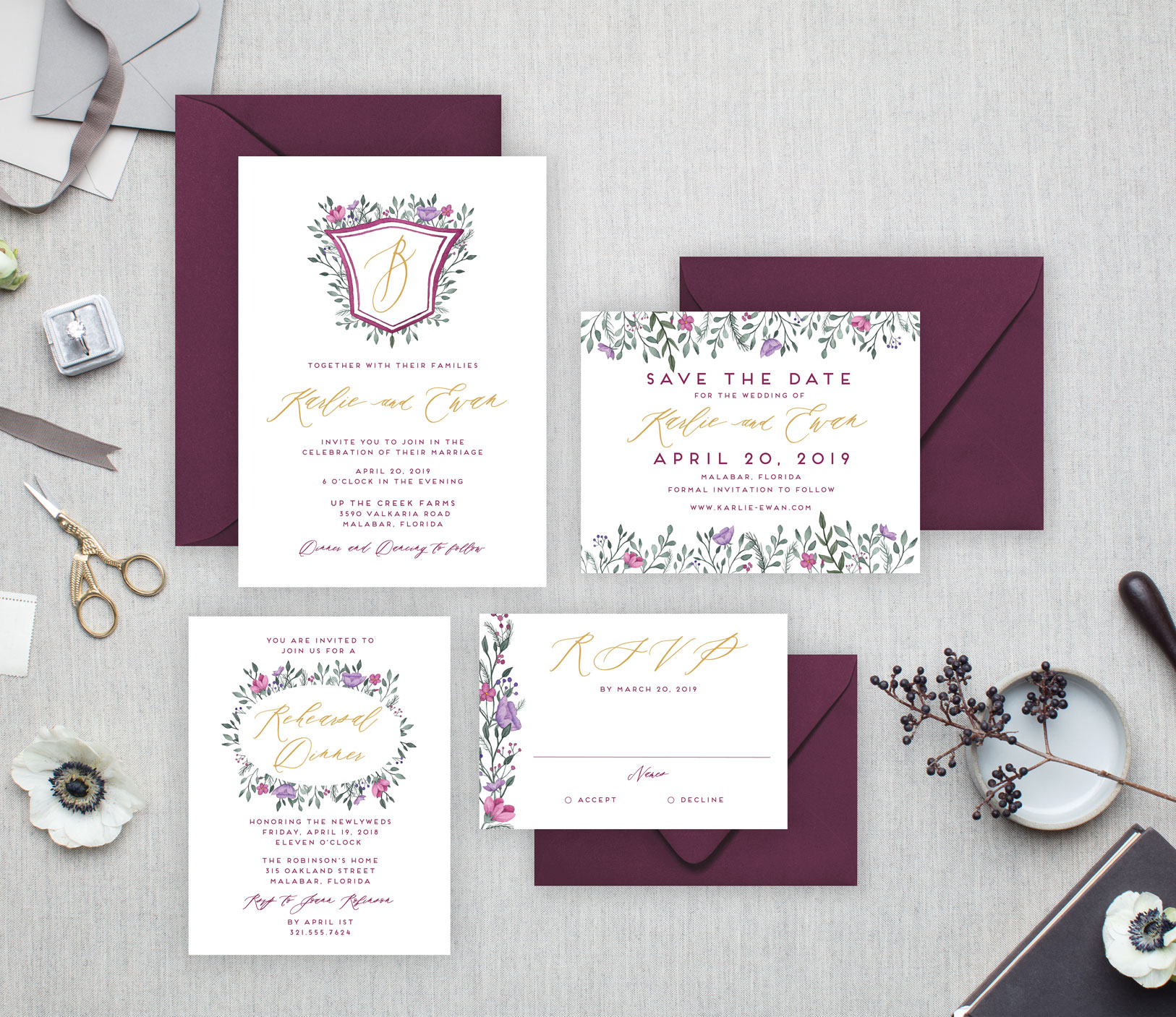 Karlie-Invitation-Suite---Watercolor-Crest-with-hand-painted-flowers---burgundy.jpg