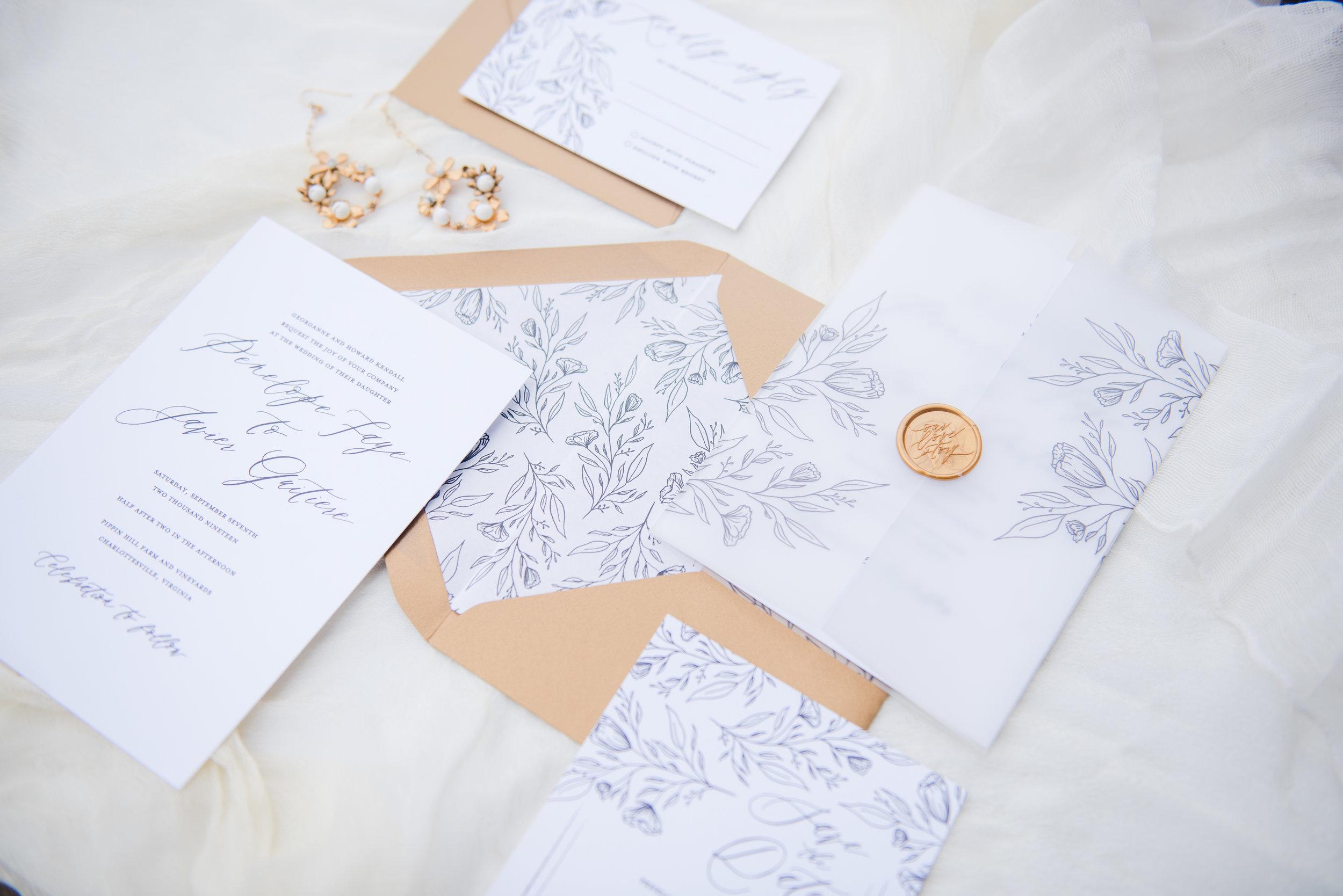 Penelope Hand Drawn Floral Wedding Invitation Feathered Heart PrintsKaeda & Michael (12 of 58).jpg