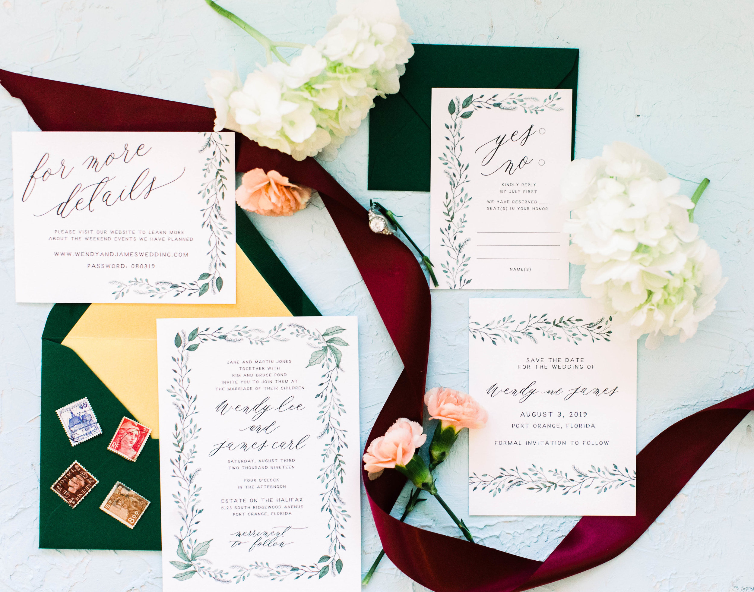 Hand Painted Watercolor Greenery Wedding Invitations -Wendy 3W2A0286.jpg