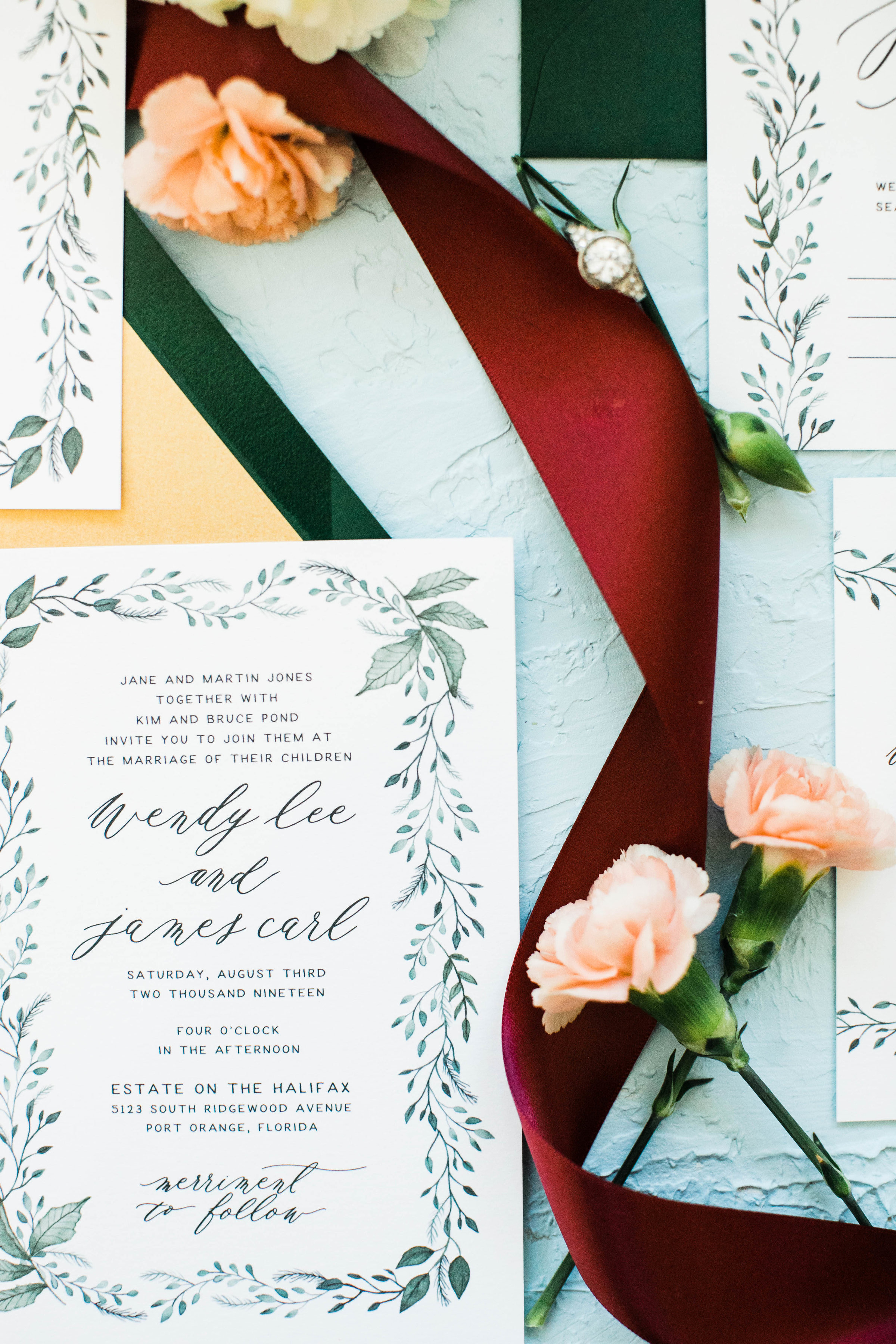 Hand Painted Watercolor Greenery Wedding Invitations -Wendy 3W2A0266.jpg