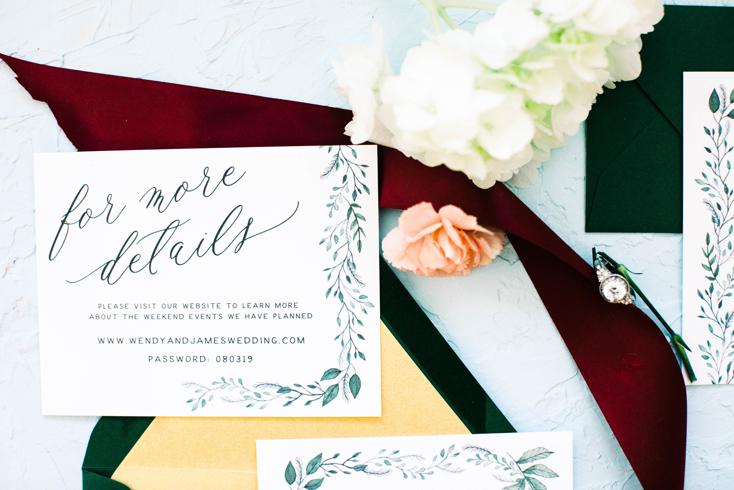 Hand Painted Watercolor Greenery Wedding Invitations -Wendy 3W2A0295.jpg