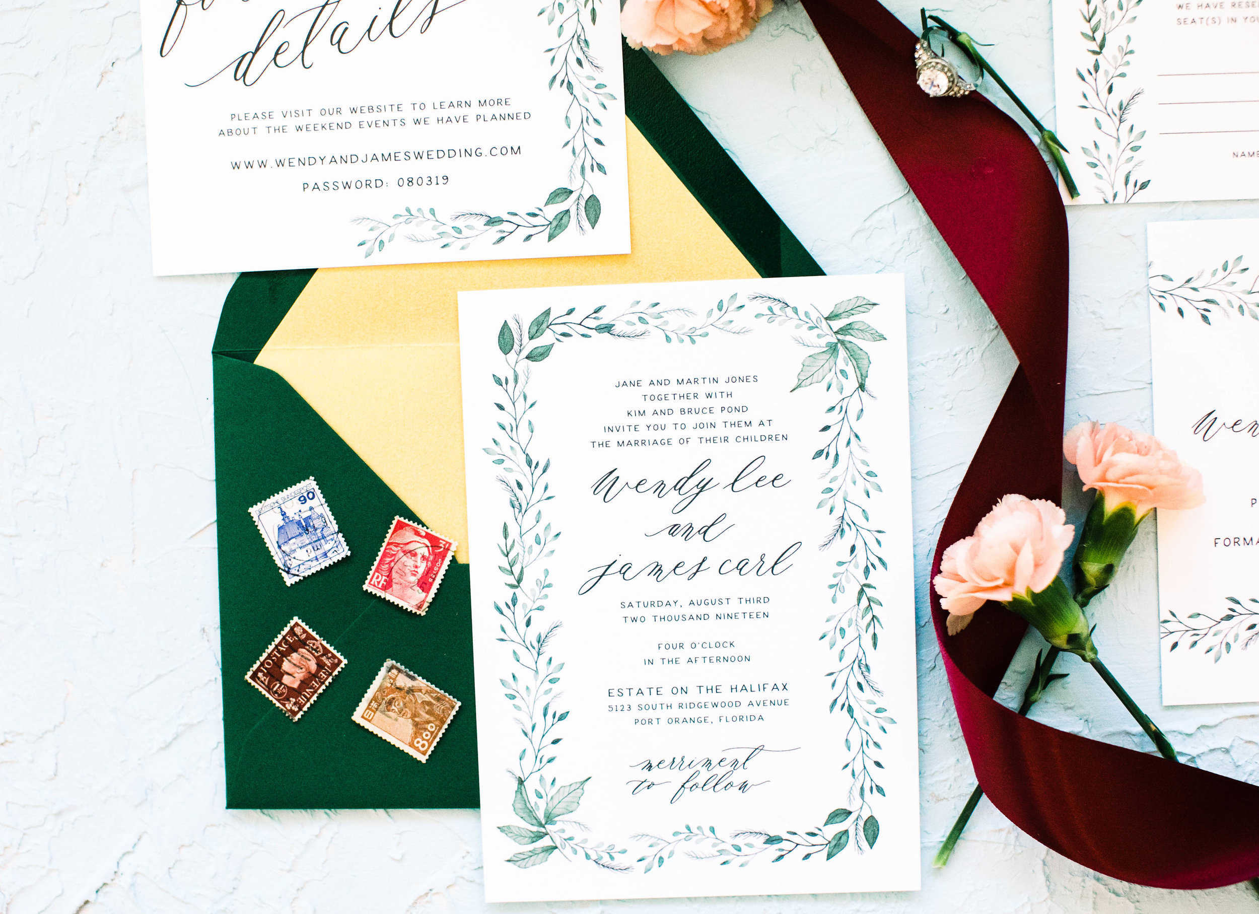 Hand Painted Watercolor Greenery Wedding Invitations -Wendy 3W2A0334.jpg