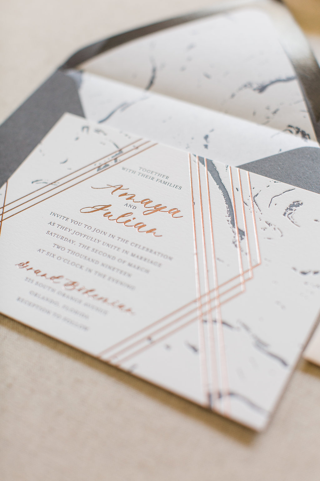 Bespoke Wedding Invitation - Custom Letterpress and Foil - Feathered Heart Prints