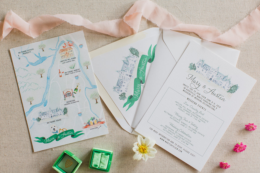 Watercolor Map - Custom Wedding Invitations - Feathered Heart Prints - Asheville- North Carolina