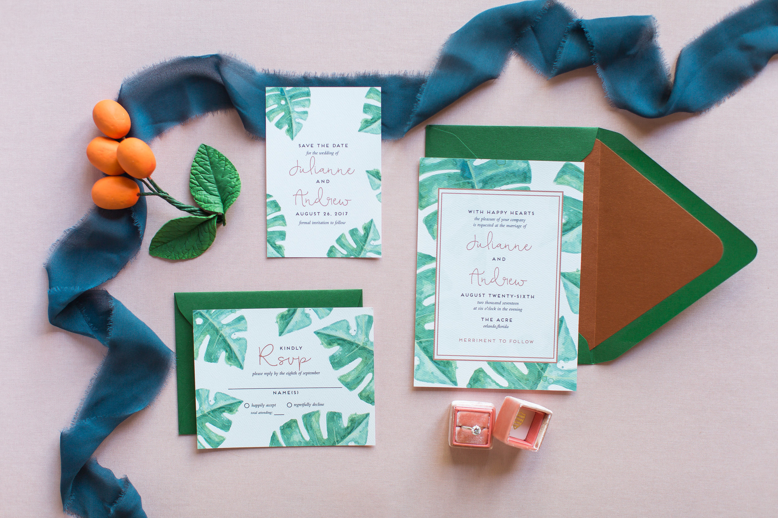 Digital Flat Printing - Tropical Wedding Invitation - Feathered Heart Prints.jpg