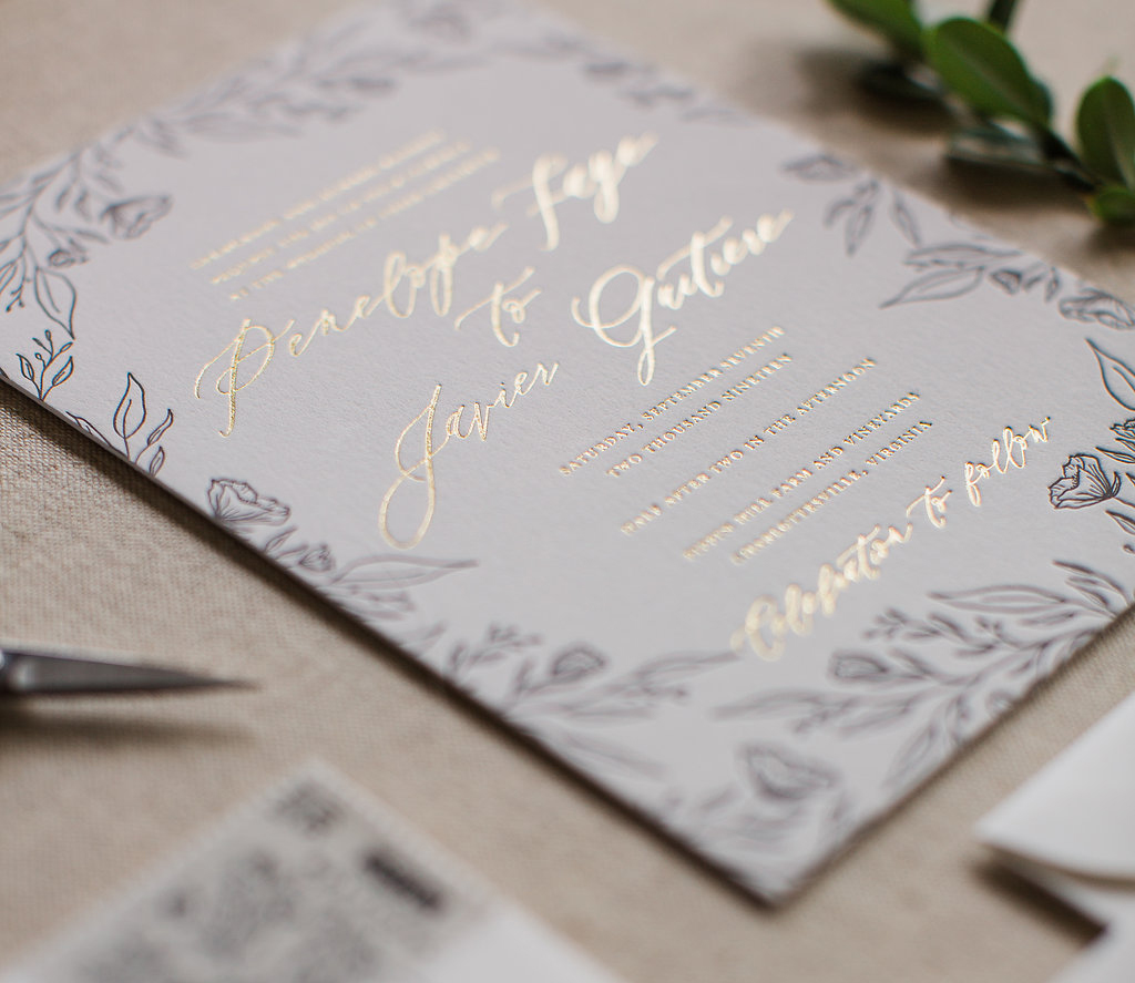 Gold Foil and Black Letterpress Wedding invitation Feathered Heart Prints.jpg