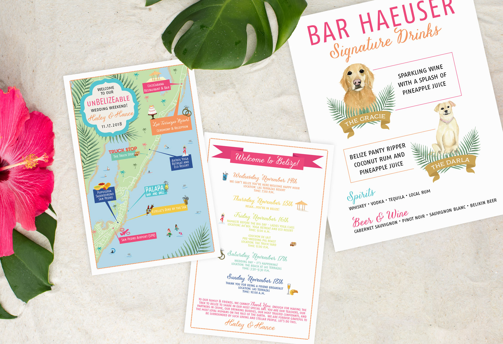 Belize-Map-with-Watercolor-Pet-Illustrated-Bar-Menu---Feathered-Heart-Prints.jpg