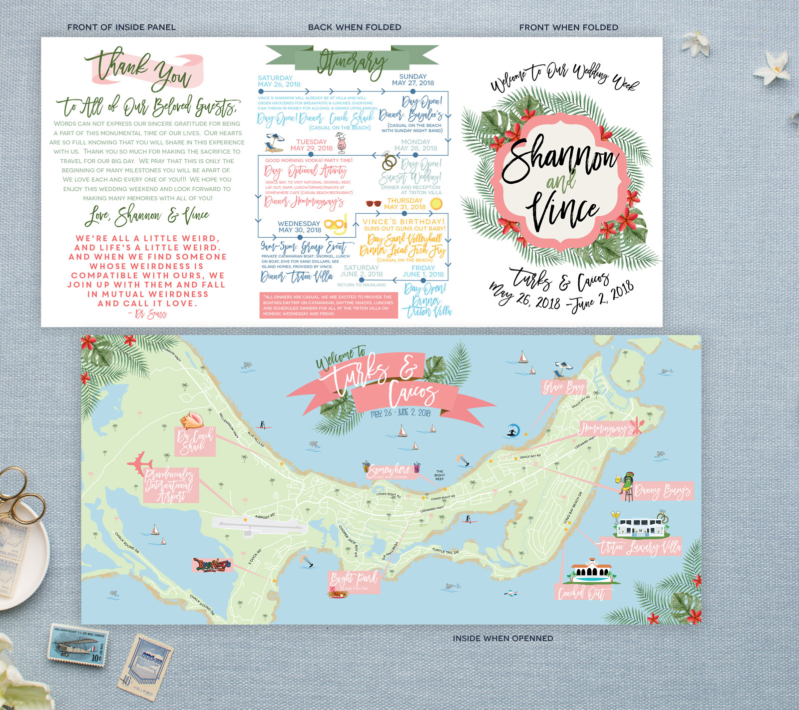 Turks and Caicos Wedding Map - Destination Wedding - Feathered Heart Prints