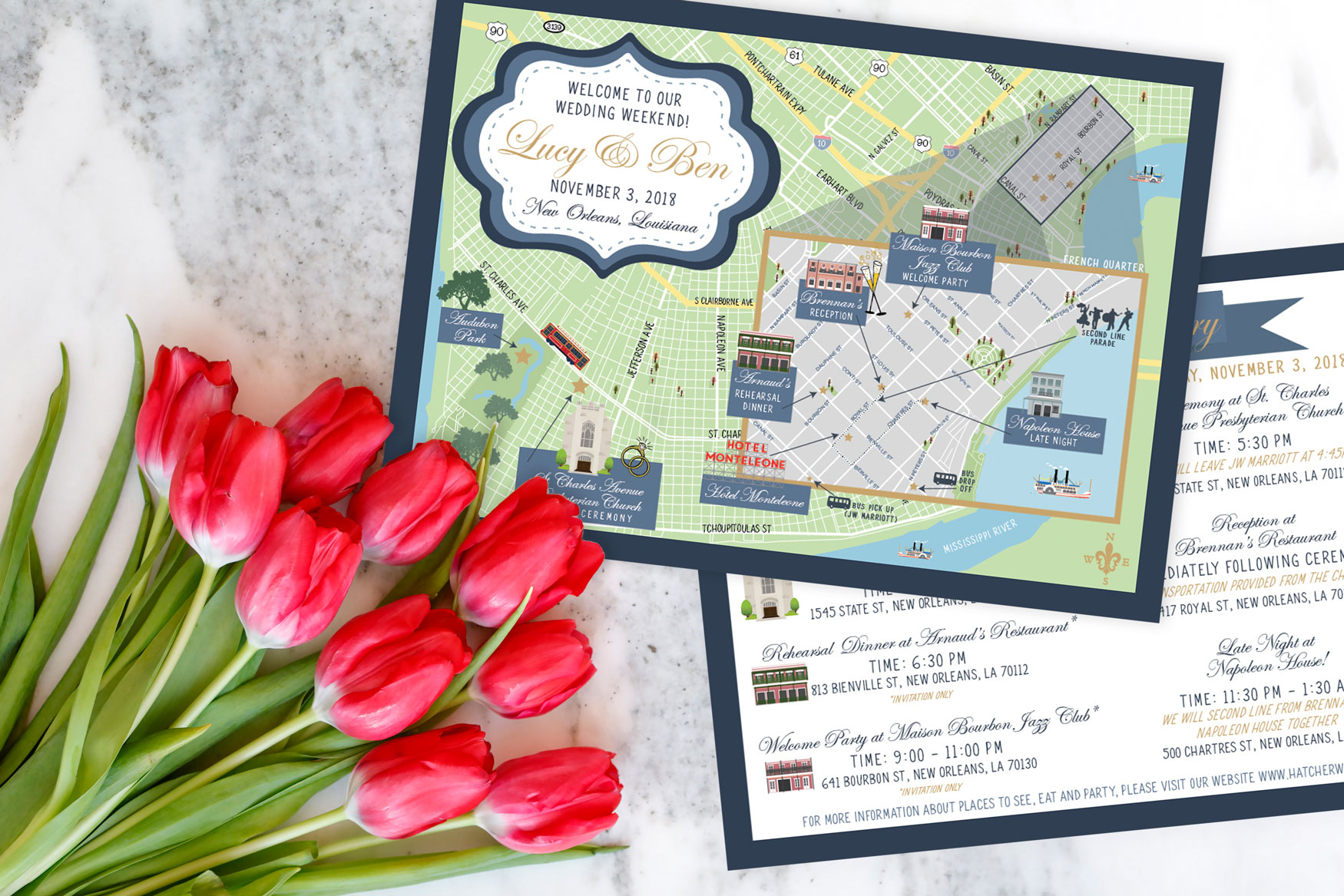 New Orleans Wedding Map - Destination Wedding French Quarter Louisiana - Feathered Heart Prints