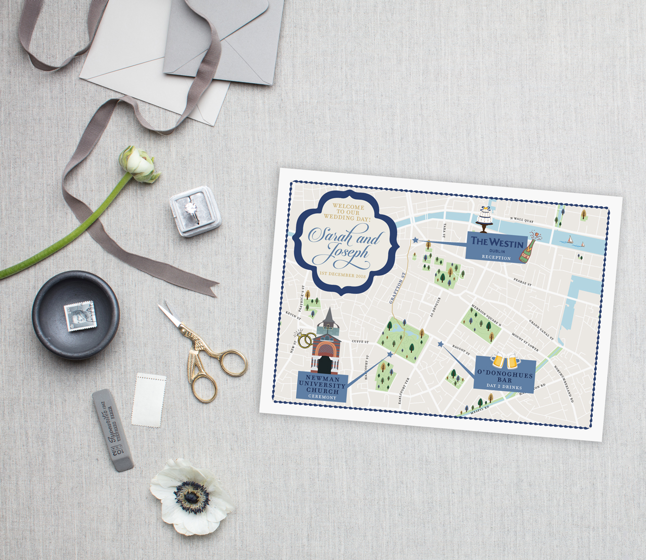 Dublin Ireland Wedding Map - Feathered Heart Prints