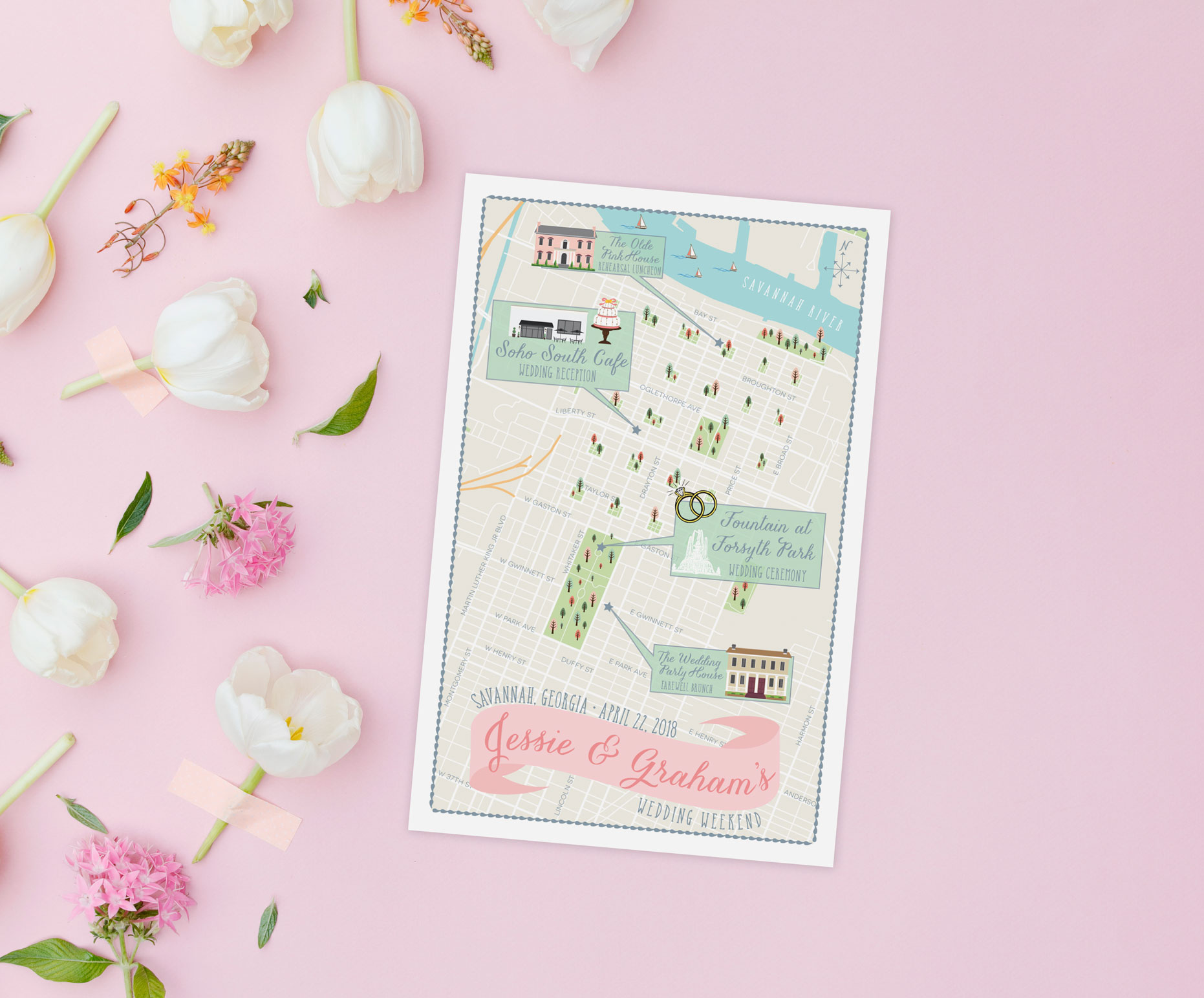 Savannah Georgia Wedding Map by Feathered Heart Prints