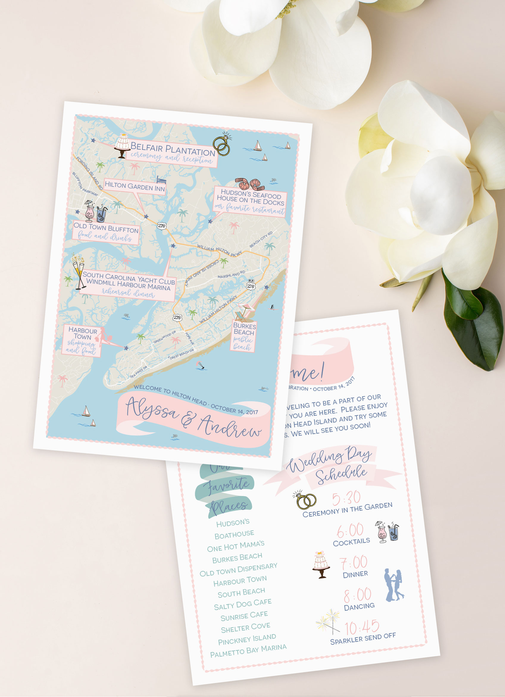 Hilton Head SC Wedding Map by Feathered Heart Prints