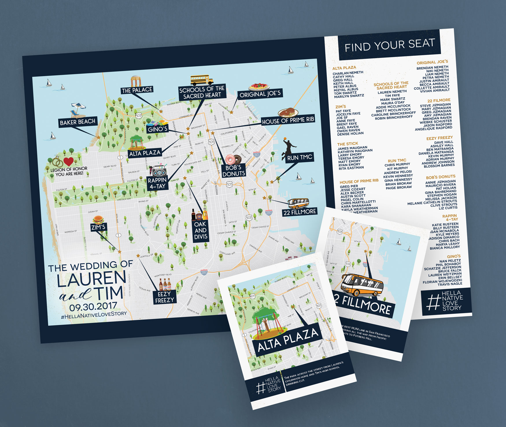 San Francisco Wedding Map used as a seating chart by Feathered Heart Prints