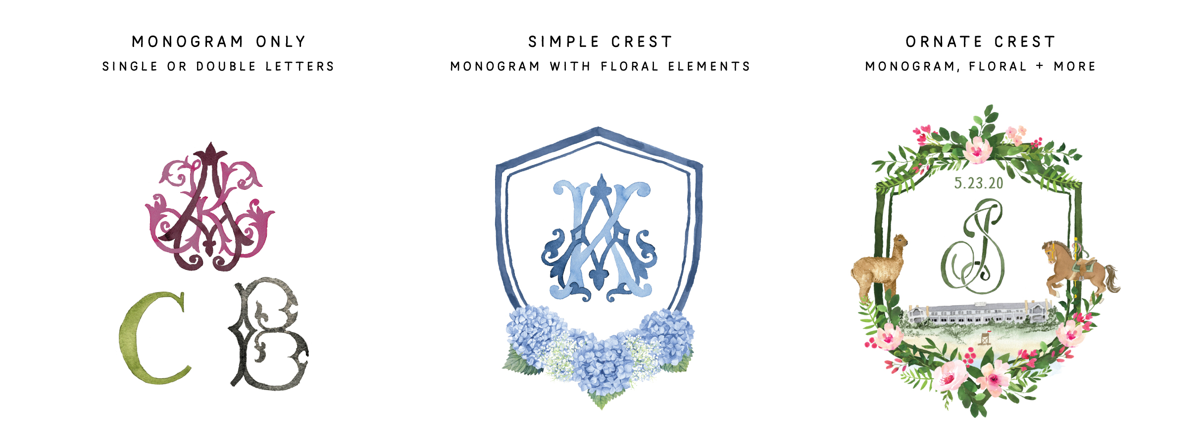 Custom Watercolor Crest Examples with Monograms by Feathered Heart Prints_1.jpg