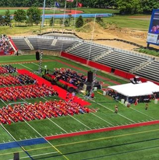 North end zone seating completed for graduation. Congratulations to the Seawolves Alumni. Well done. #fortunatosonscontracting #stonybrookuniversity #seawolves