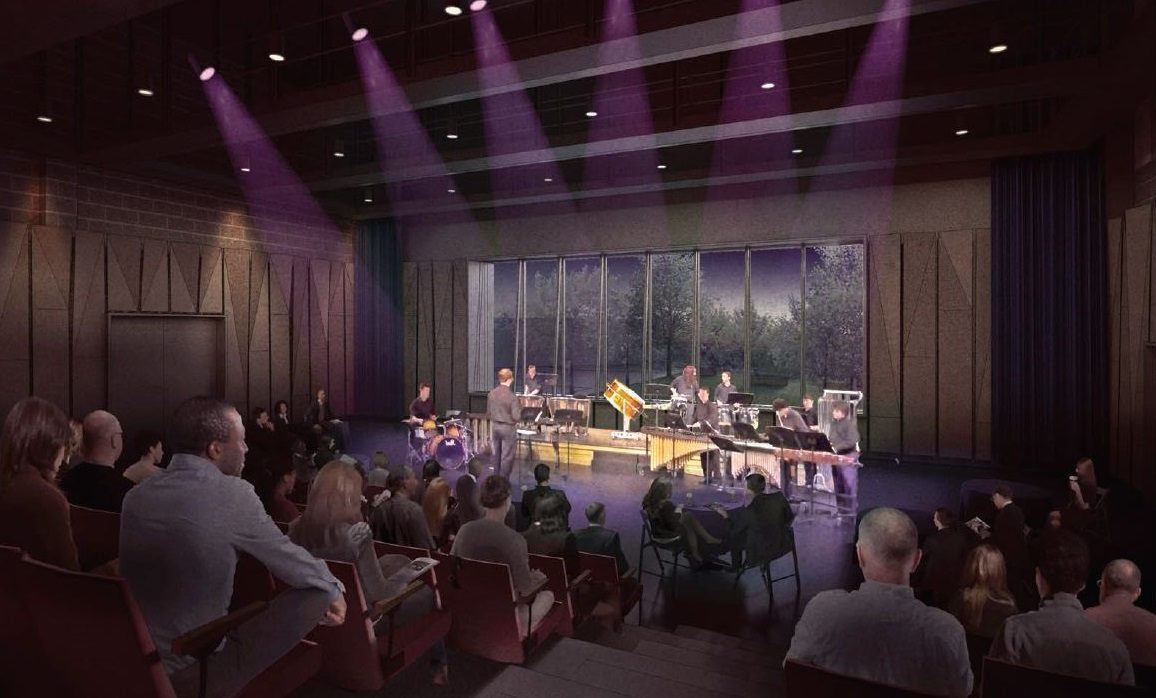 Rendering of Starr Theater with window overlooking the new Bill & LeAnn Underwood Family Plaza