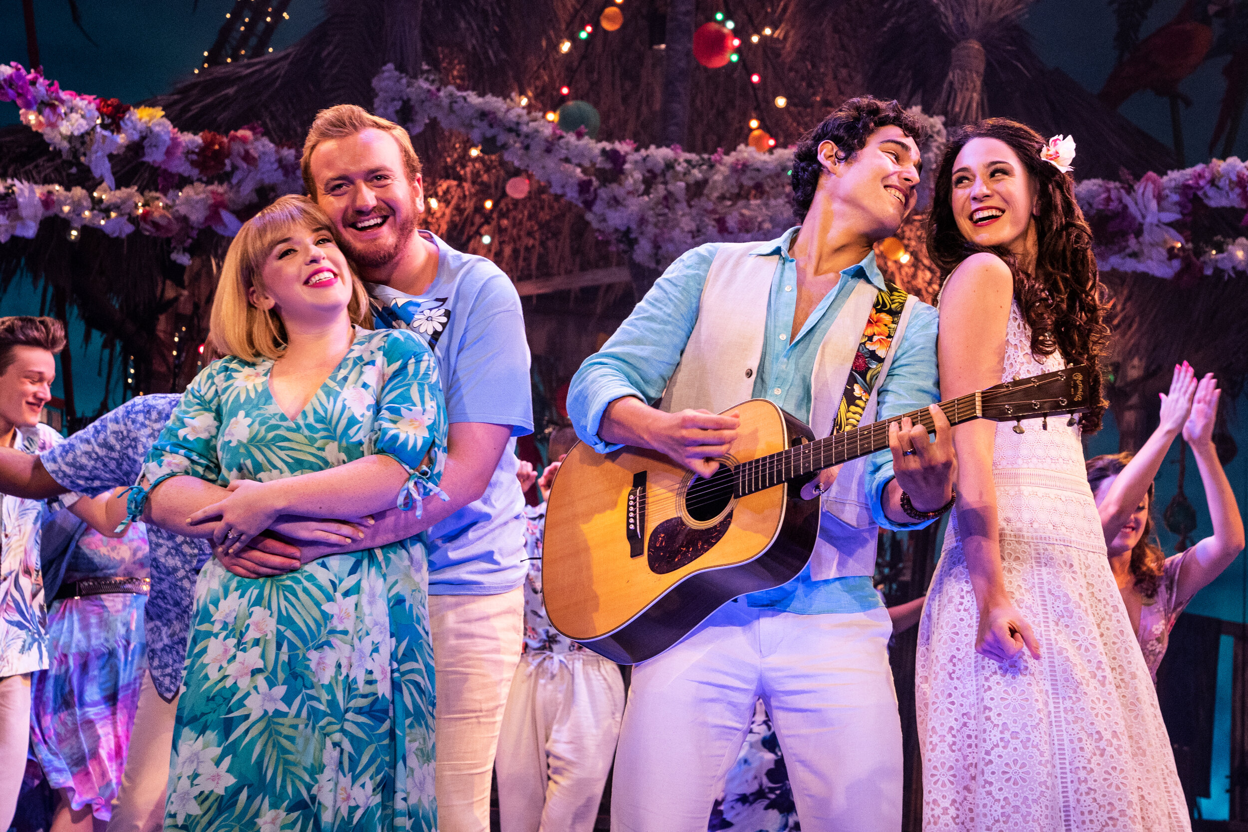 Shelly Lynn Walsh as Tammy, Peter Michael Jordan as Brick, Chris Clark as Tully, Sarah Hinrichsen as Rachelin Jimmy Buffett's ESCAPE TO MARGARITAVILLE. © Matthew Murphy